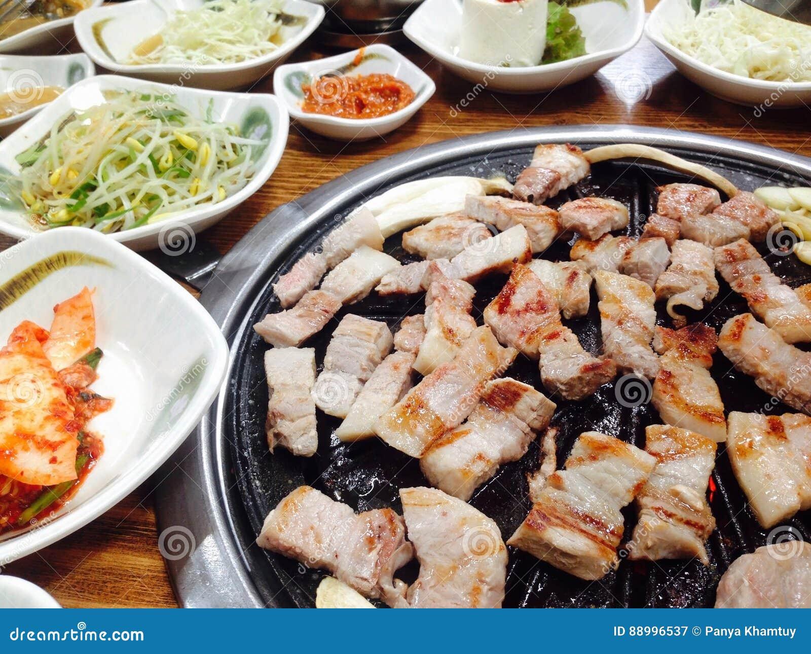 Korean Food Bbq Grilled Pork In The Korean Restaurant South Korea
