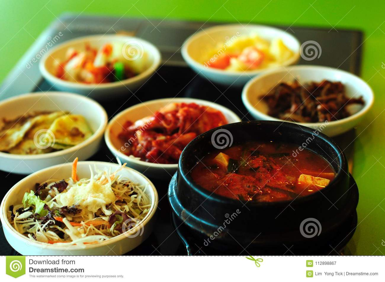 Korean Food At Modern Restaurant Stock Image Image Of Pickle Person 112898867