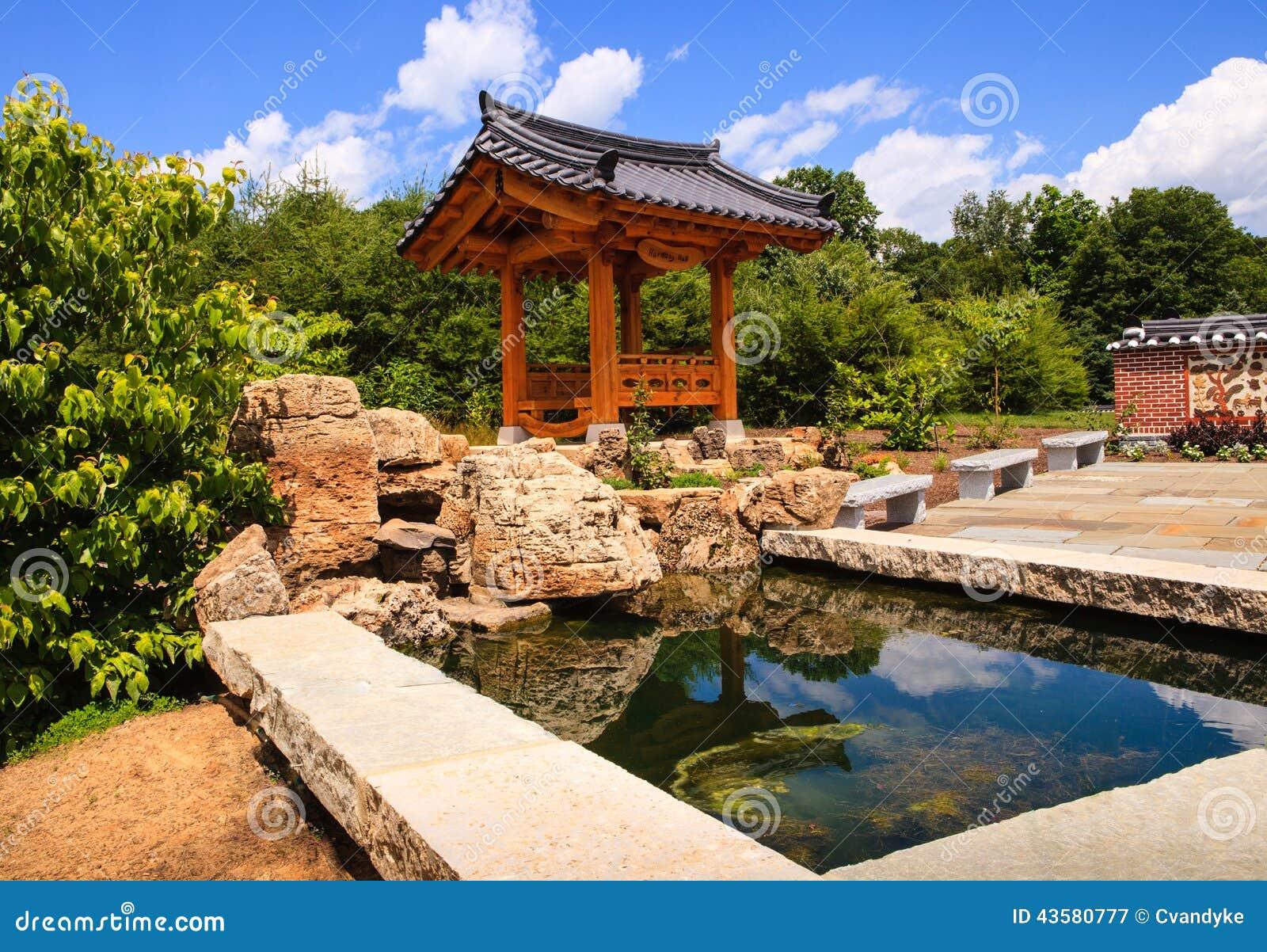 Colorful Korean Garden Illustration - Brown Nature Garden ...