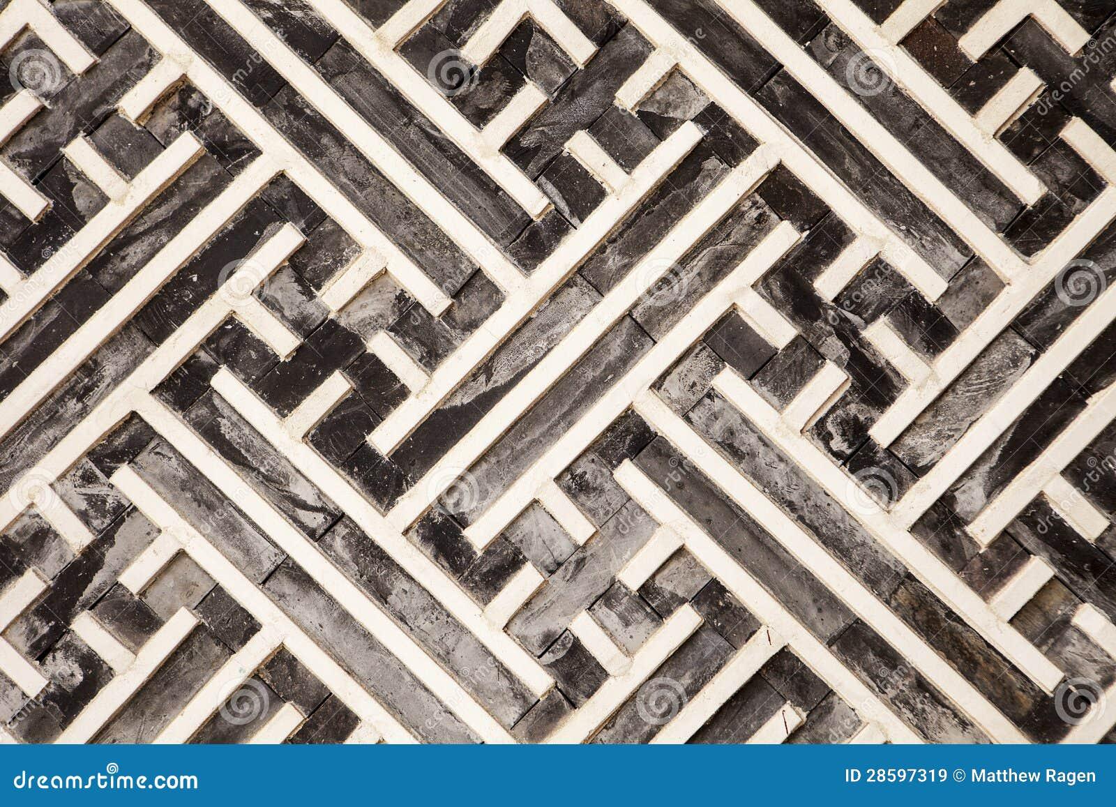 Korean Geometric Pattern In Wood Stock Image - Image: 28597319
