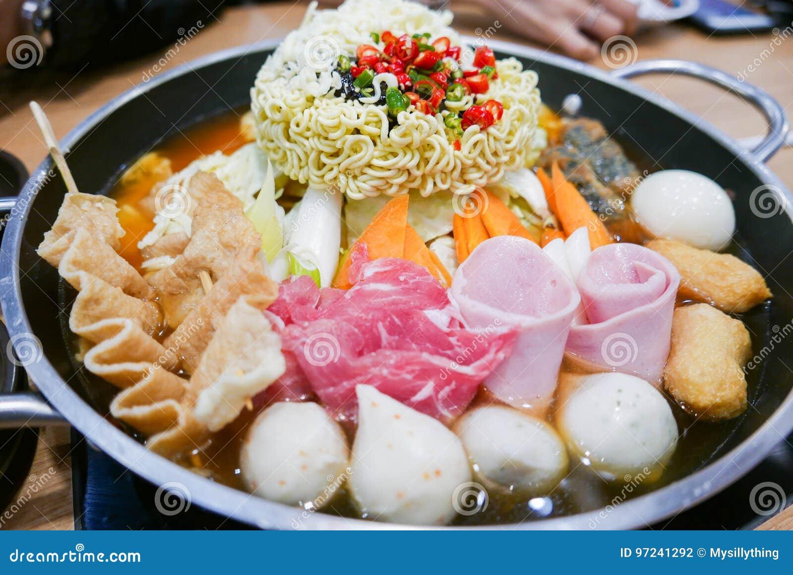 Korean Hot pot `Budae Jjigae` or Army Stew, a Korean fusion foo