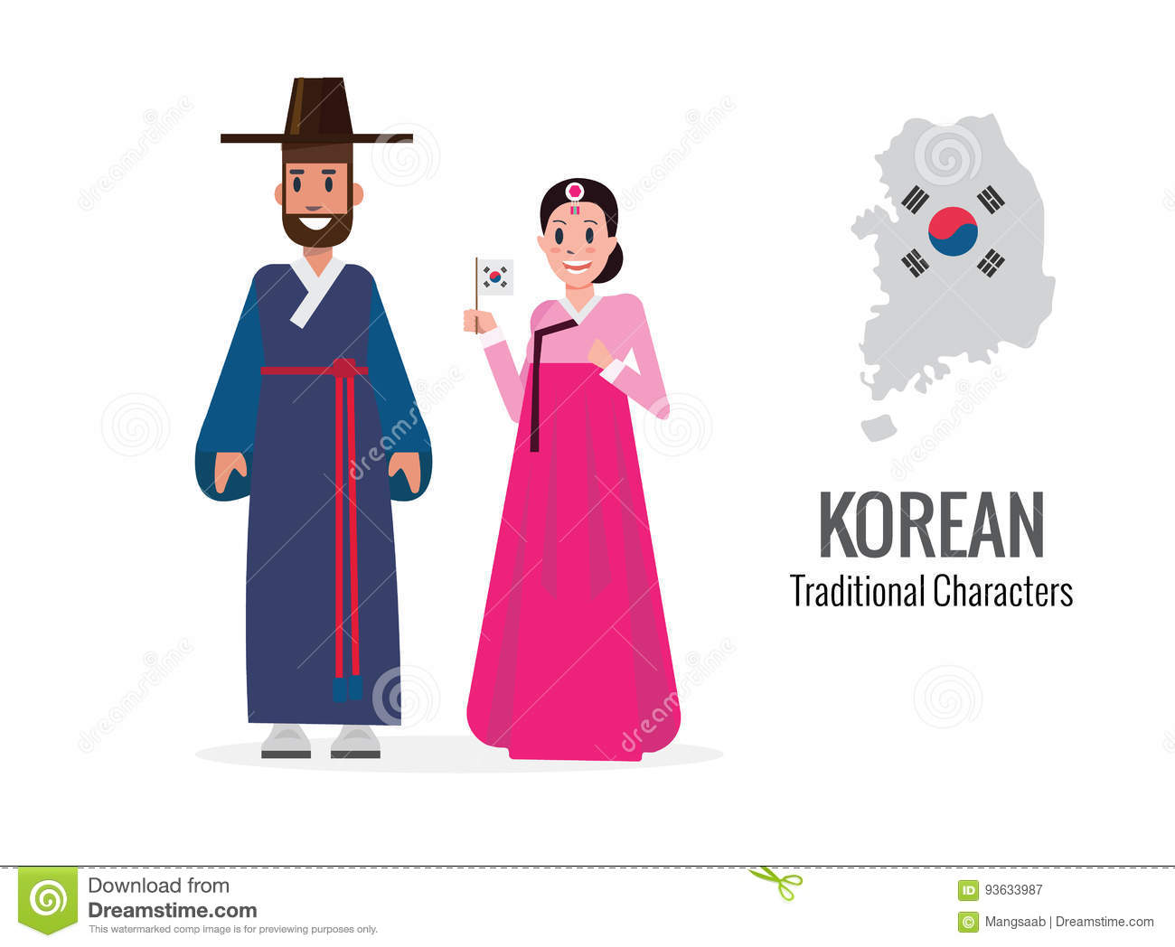 Korean Man And Woman In Traditional Costume Korea Map And Flag