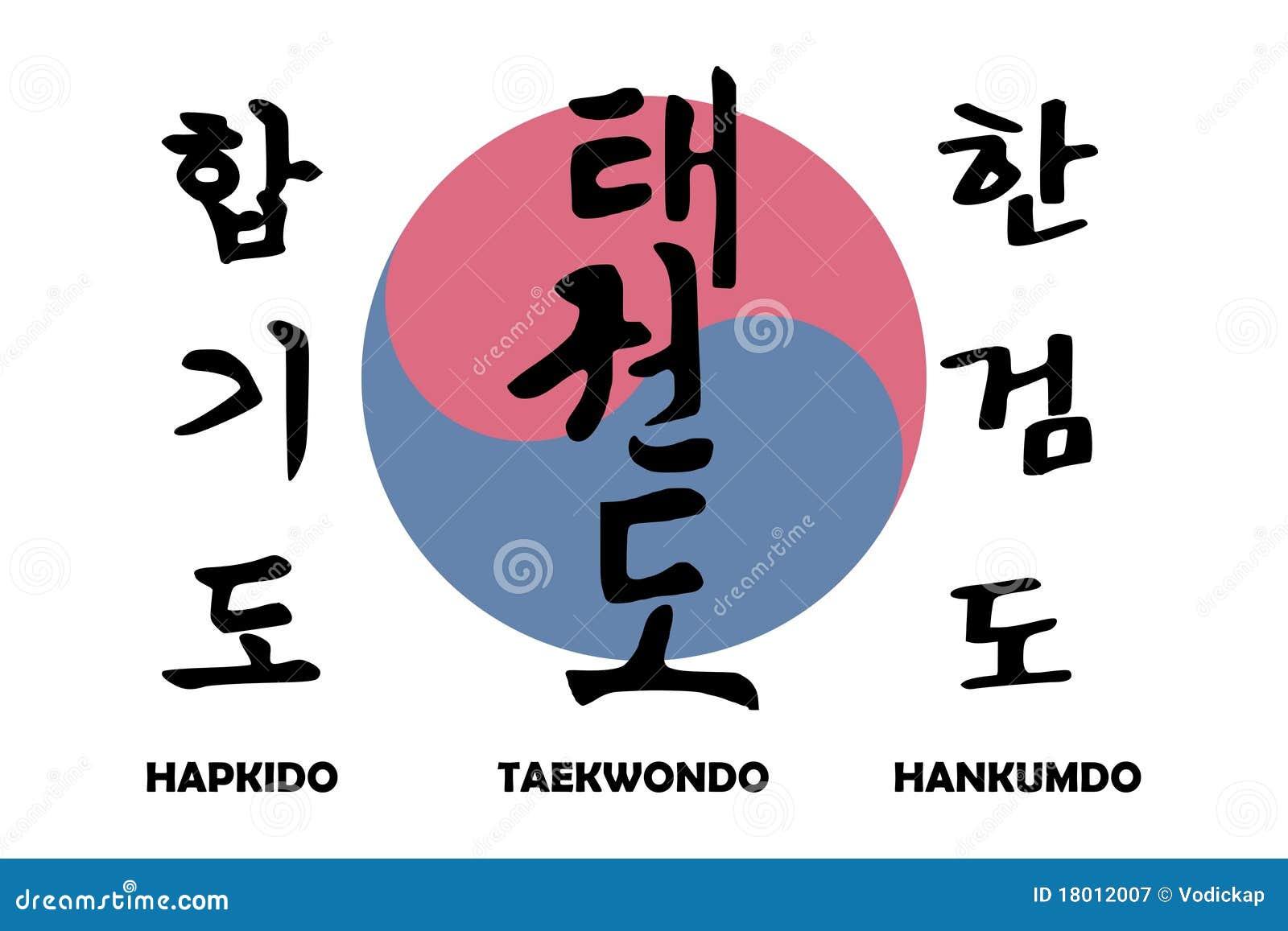 Korean Martial Arts With Korean Yin Yang Stock Vector Illustration