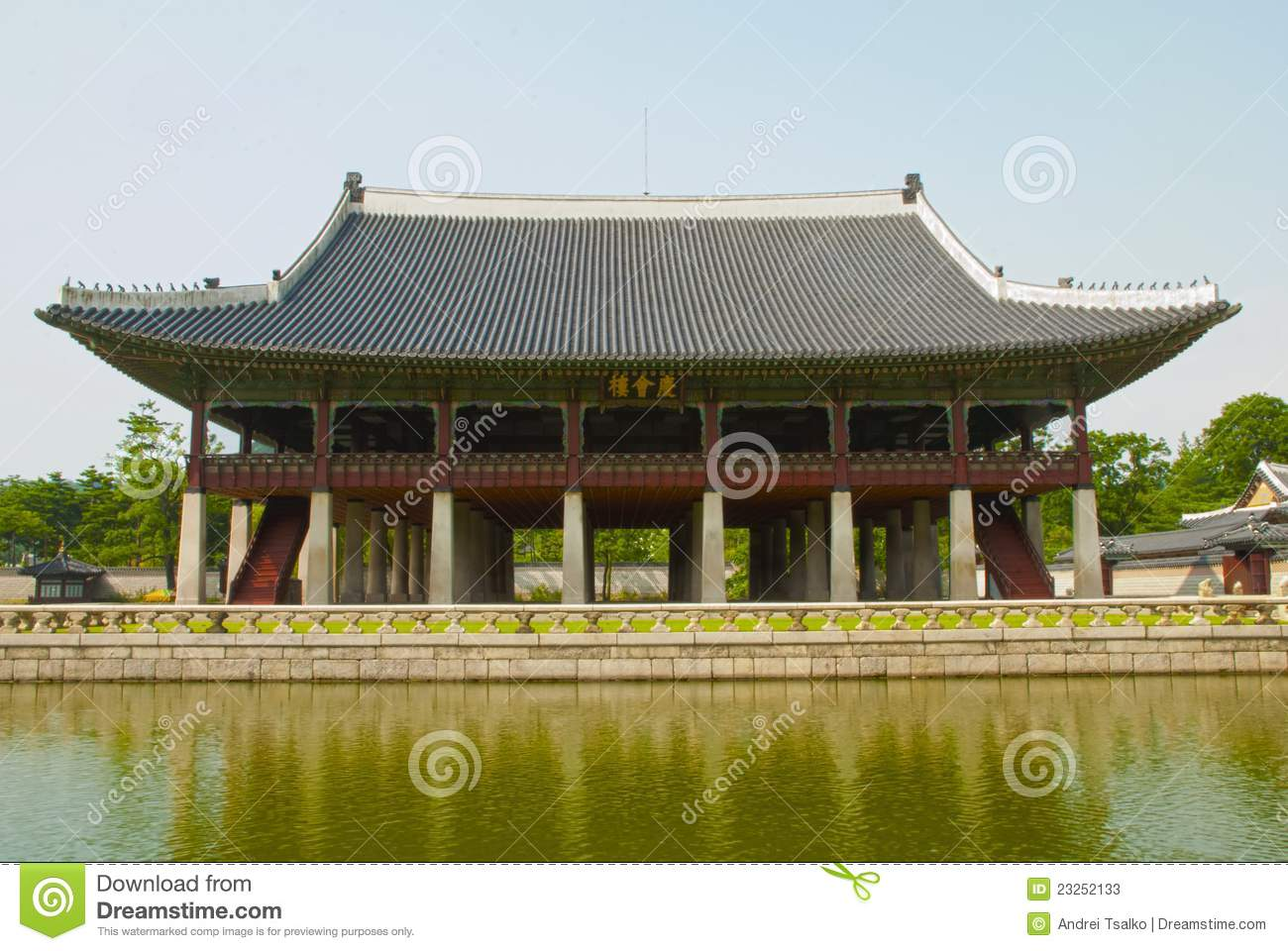 Korean old buildings from outside and inside stock image for Traditional house building