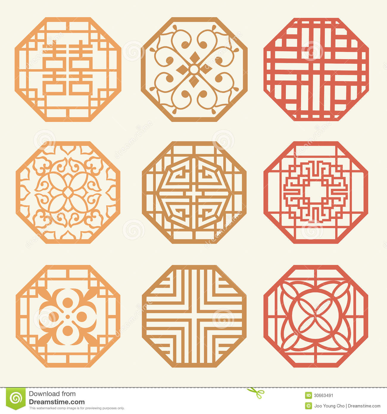 Korean Old Of Window Frame Symbol Sets Korean Traditional