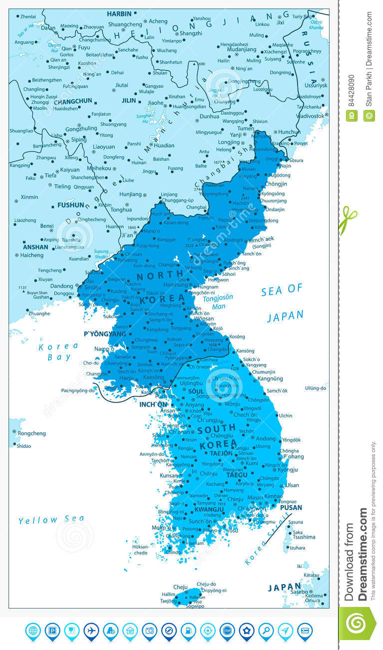 Korean peninsula map in colors of blue and blue map pointers stock download comp gumiabroncs Gallery
