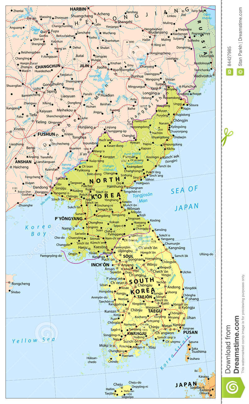 Korean Peninsula Political Map Map Of North And South Korea