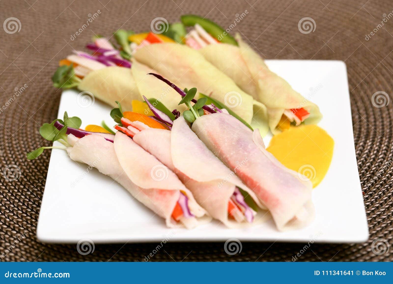 Korean Pickled Radish Wrapped Salad Rolls Stock Image Image Of Garlic Crab 111341641