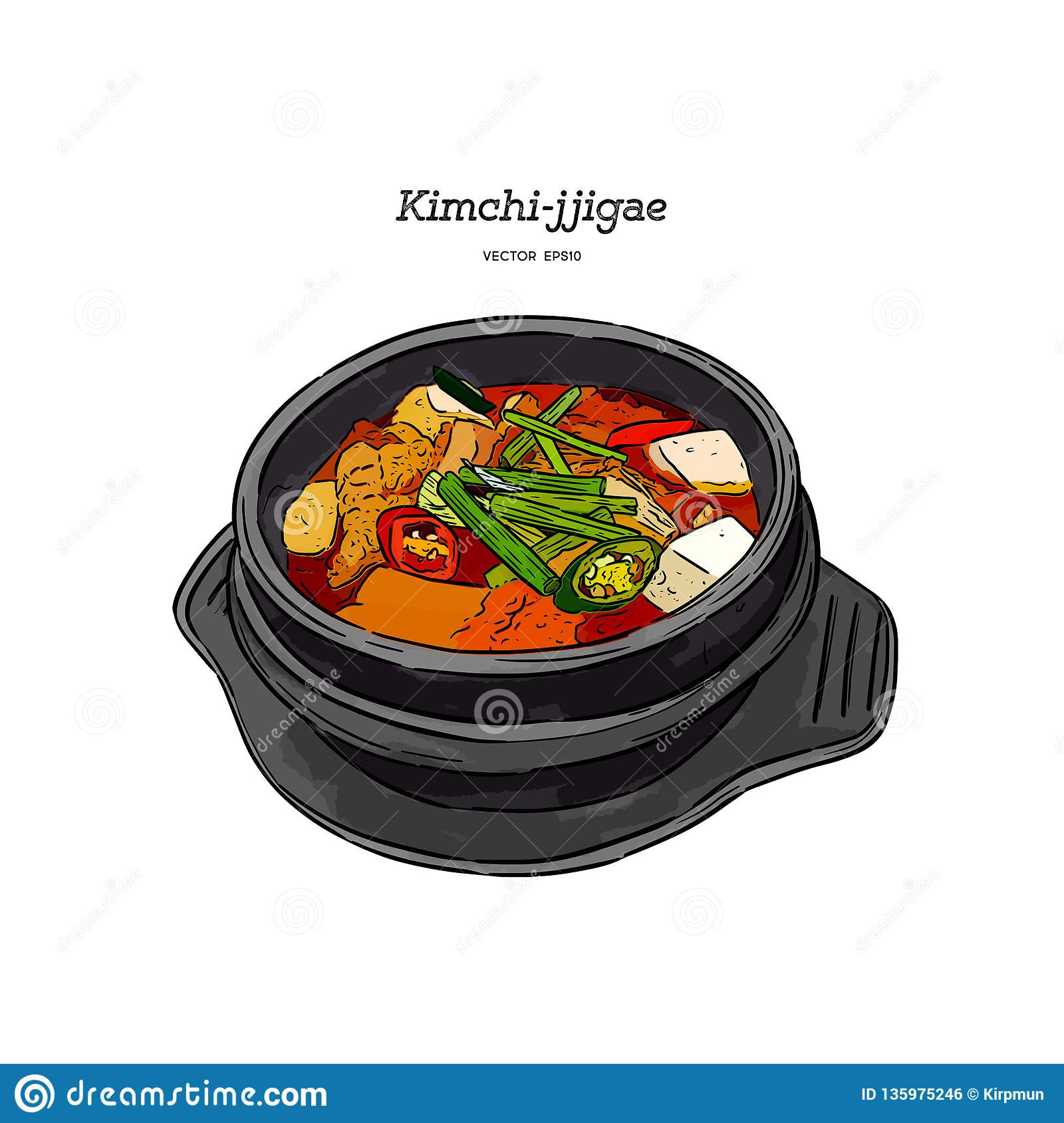 Korean Traditional Kimchi Soup In A Clay Pot Hand Draw Sketch