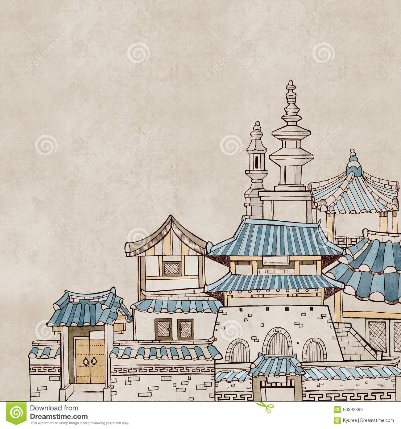 Korean traditional houses b stock illustration image for Modern korean house architecture