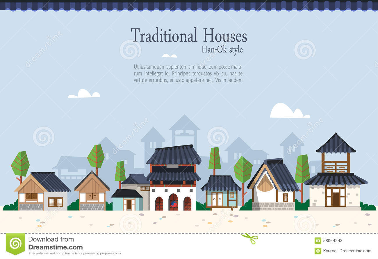 Korean traditional town stock vector image of korea for Modern korean house architecture