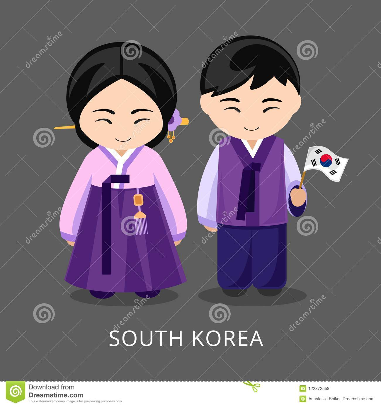 4c00ba7ac7134 Koreans In National Dress With A Flag. Stock Vector - Illustration ...