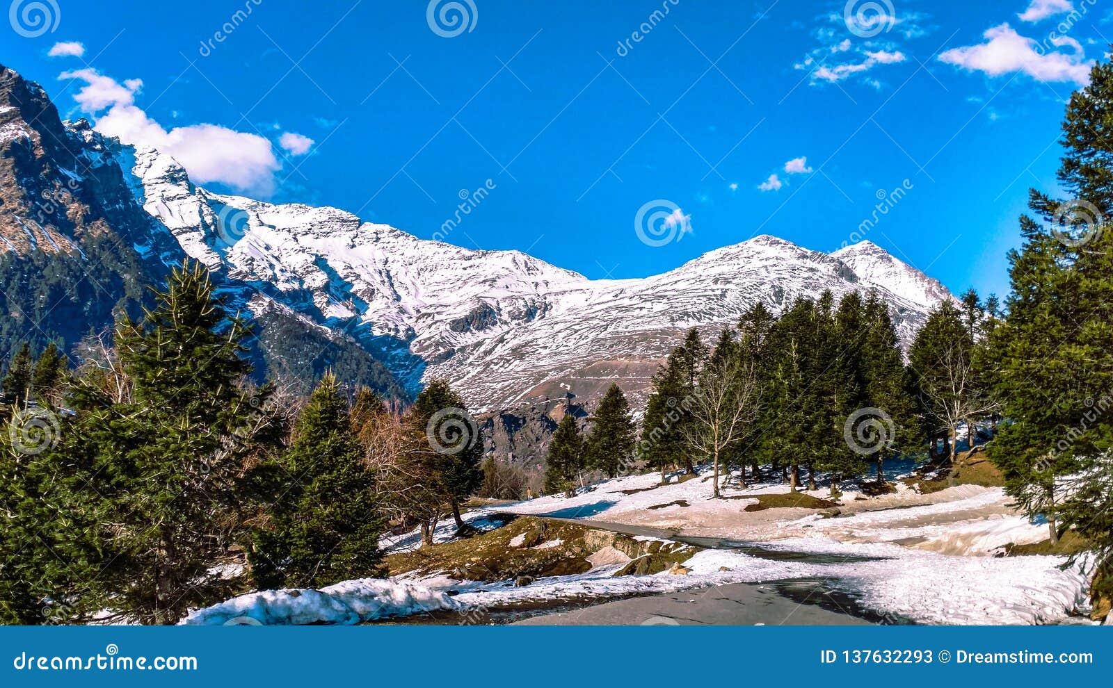 Korkade berg för snö i Himachal Pradesh