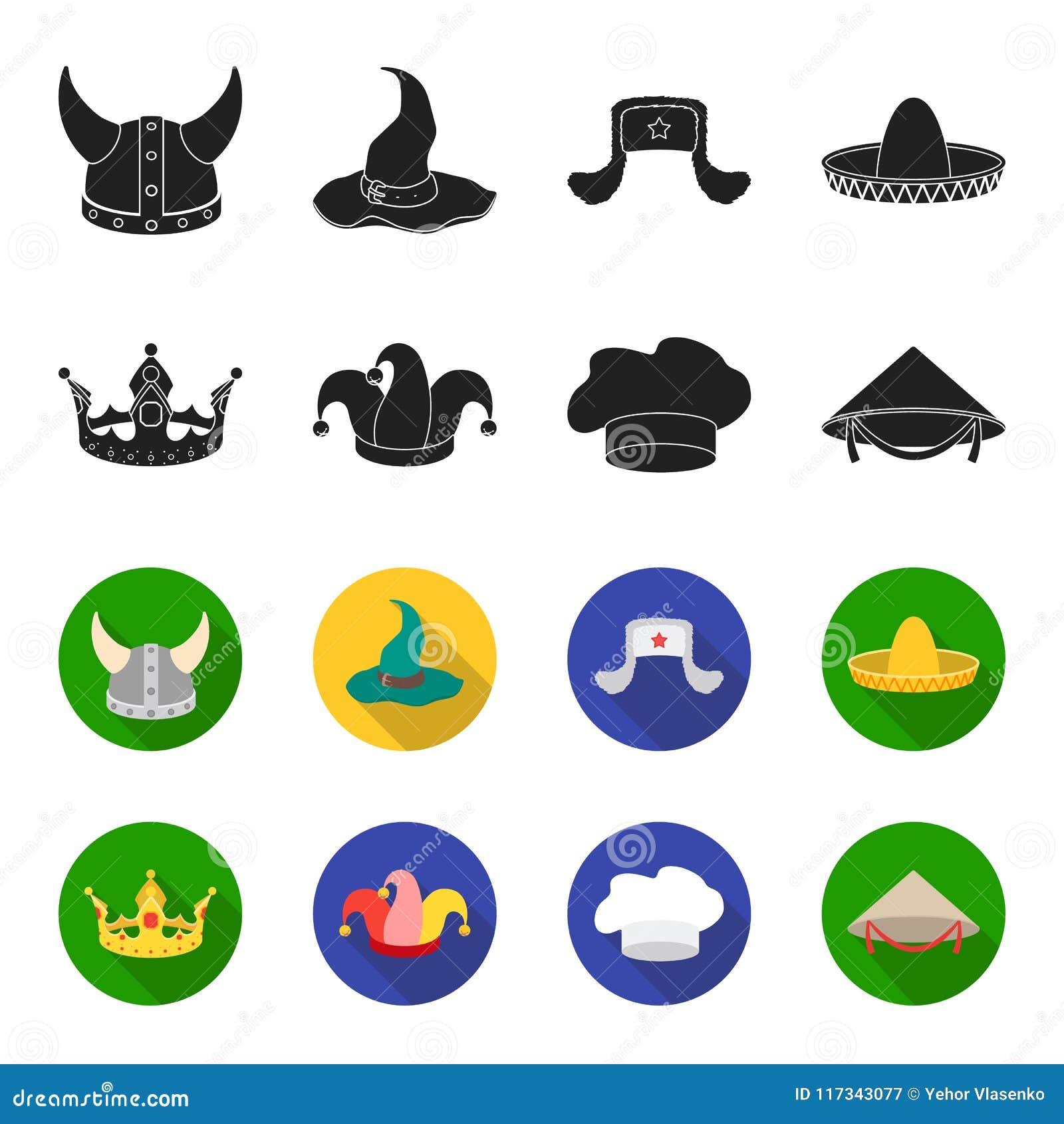 Koronuje, dowcipniś nakrętka, kucharz, rożek Kapelusz ustawiać inkasowe ikony w czerni, fleta symbolu zapasu ilustraci stylowa we
