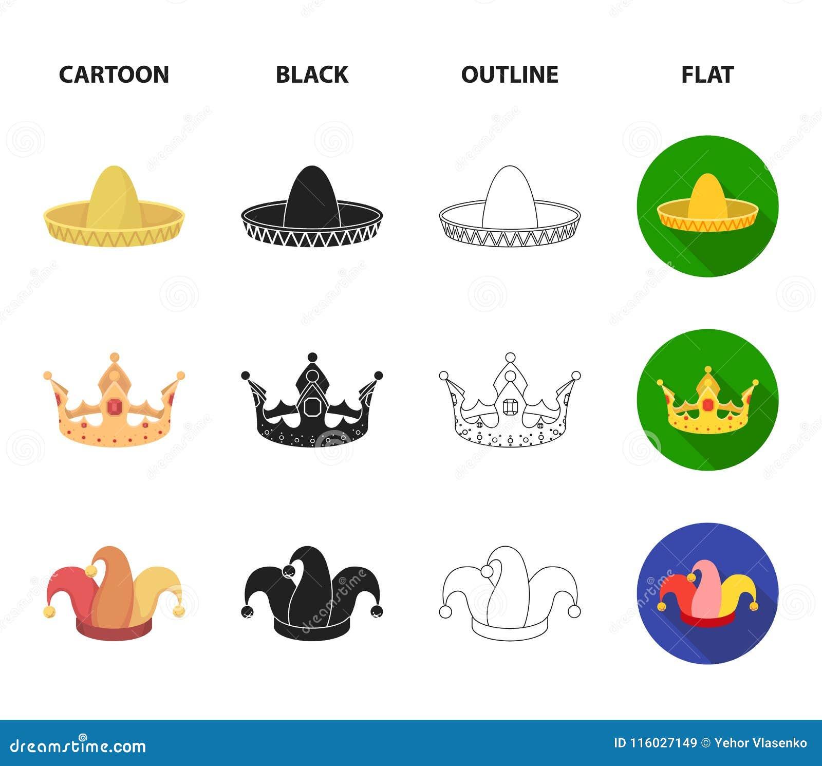 Koronuje, dowcipniś nakrętka, kucharz, rożek Kapelusz ustawiać inkasowe ikony w kreskówce, czerń, kontur, mieszkanie symbolu styl