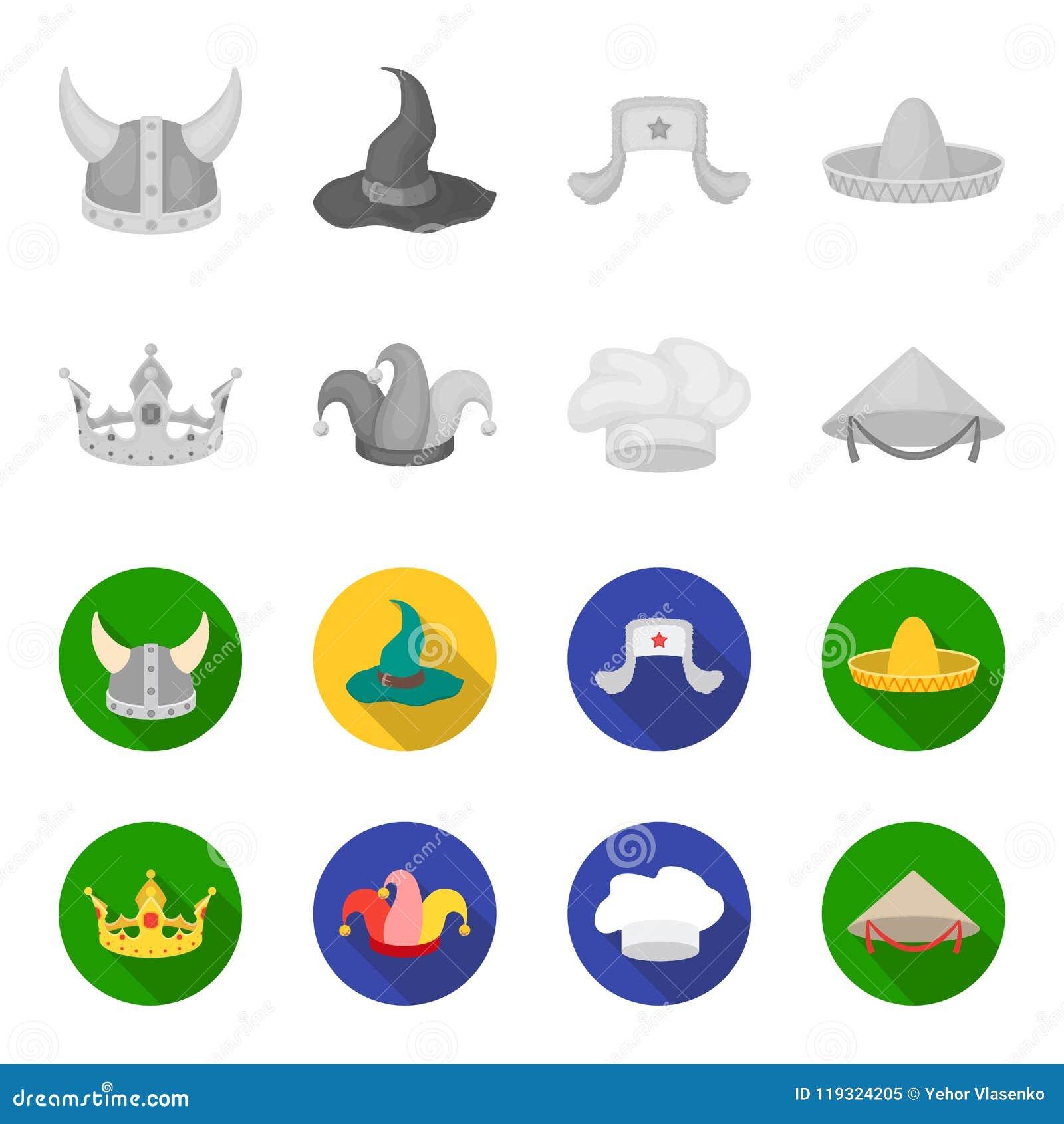 Koronuje, dowcipniś nakrętka, kucharz, rożek Kapelusz ustawiać inkasowe ikony w monochromu, mieszkanie symbolu zapasu ilustraci s