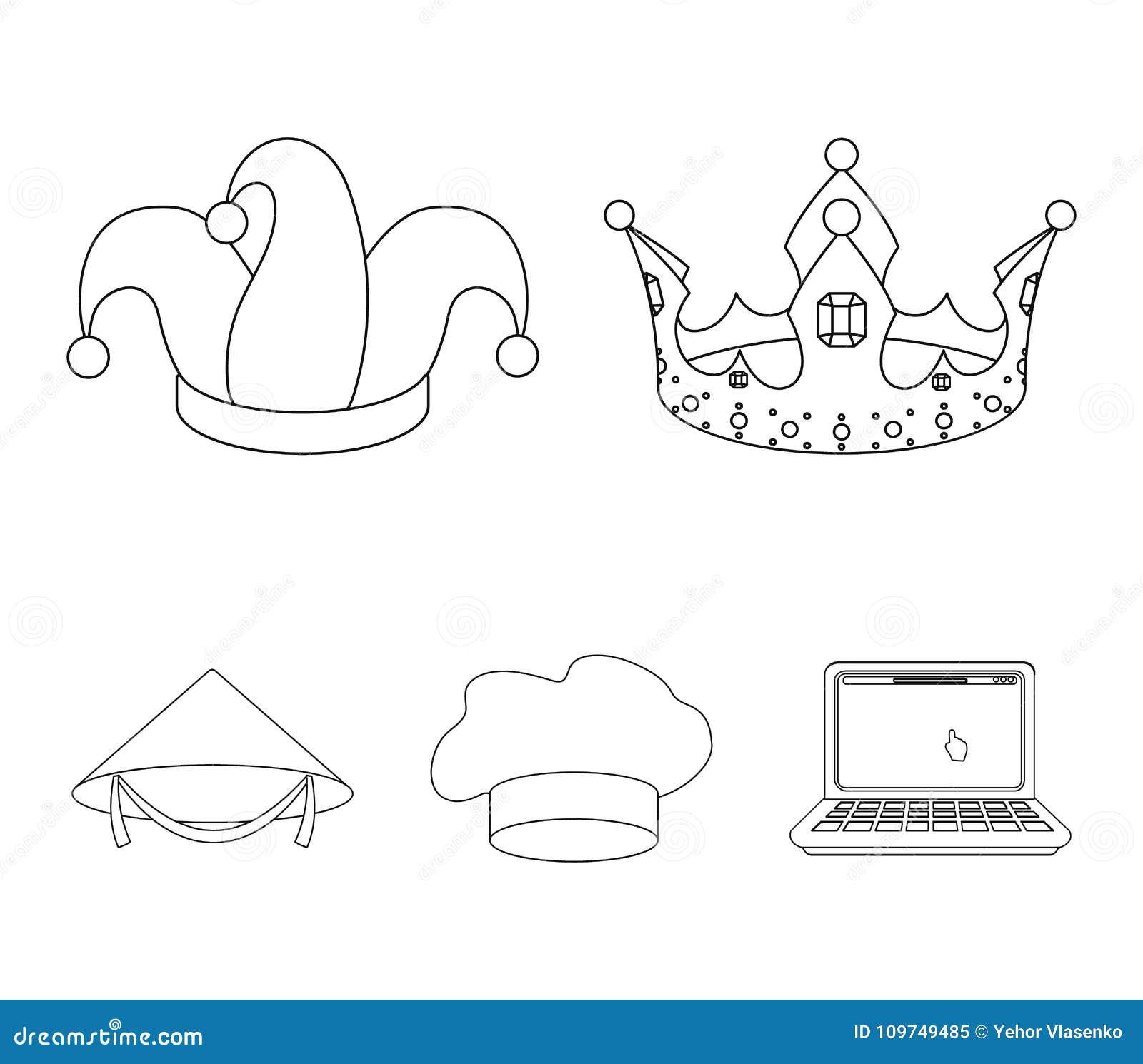 Koronuje, dowcipnisia ` s nakrętka, kucharz, rożek Kapelusz ustawiać inkasowe ikony w konturu stylu wektorowym symbolu zaopatrują