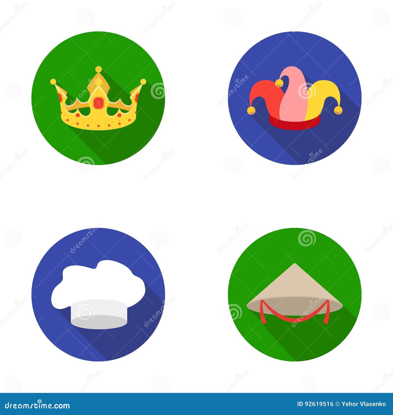 Koronuje, dowcipnisia ` s nakrętka, kucharz, rożek Kapelusz ustawiać inkasowe ikony w mieszkanie stylu wektorowym symbolu zaopatr