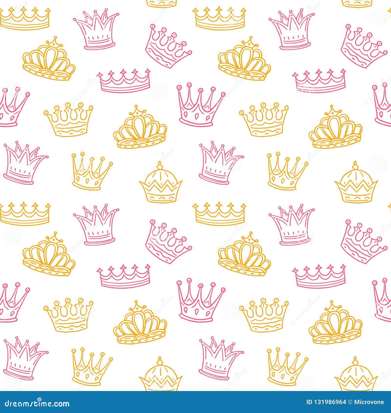 Korony bezszwowy deseniowy Złote i różowe korony dla princess Nowonarodzony dziewczyna wektoru tło