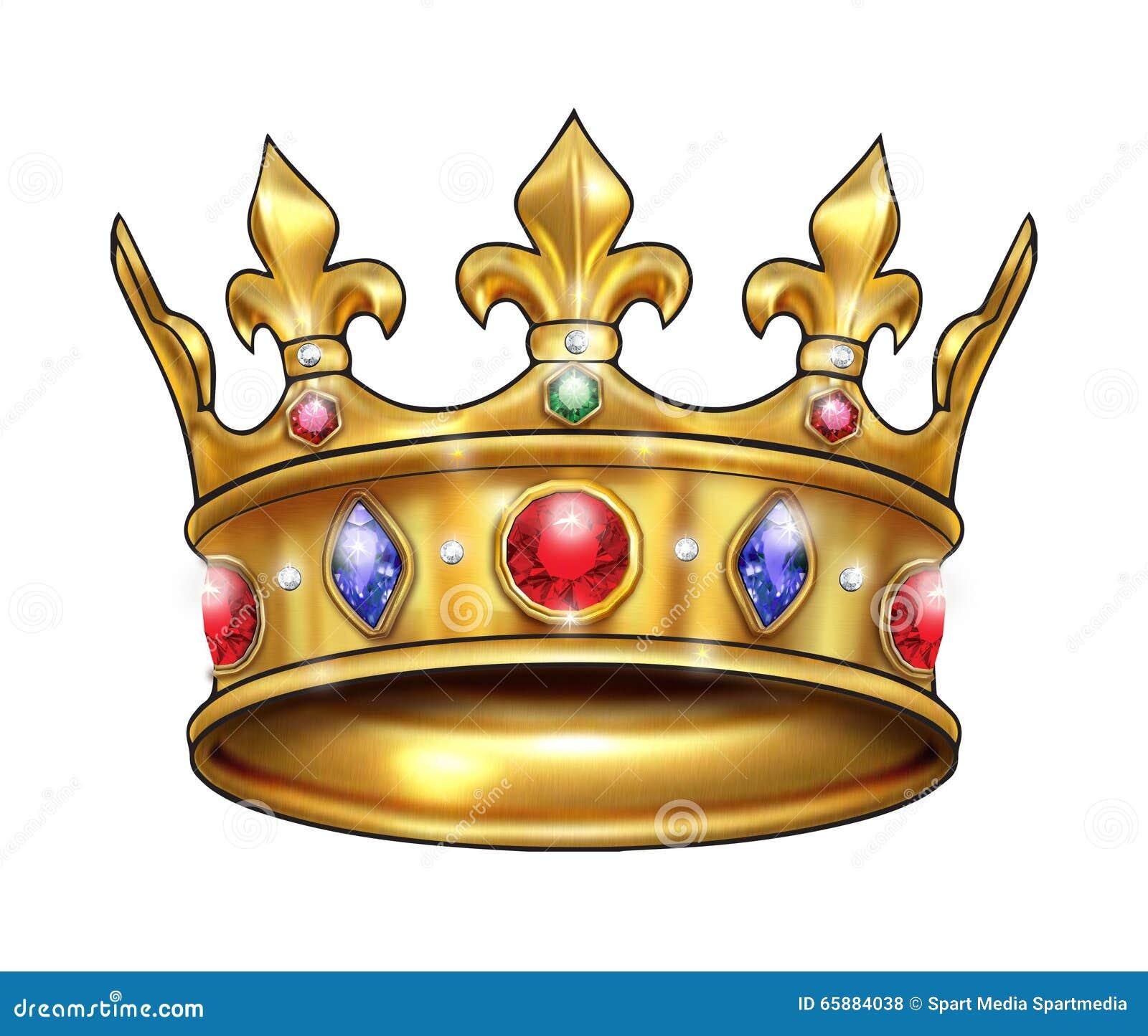 Korony złoto operla czerwonych rubiny