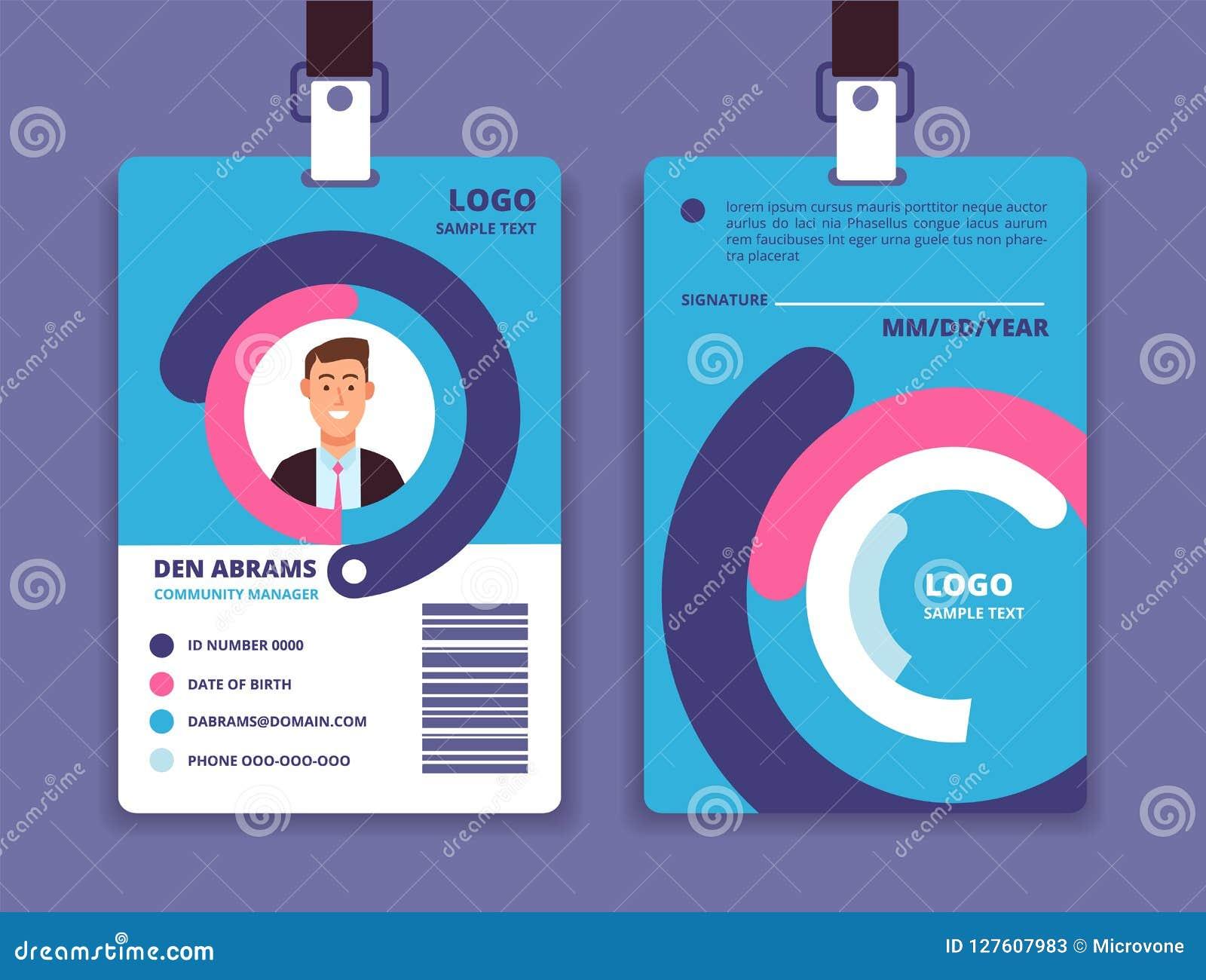 Korporacyjna id karta Fachowa pracownik tożsamości odznaka z mężczyzna avatar gdy projekta ładny część stiker szablon używać wekt