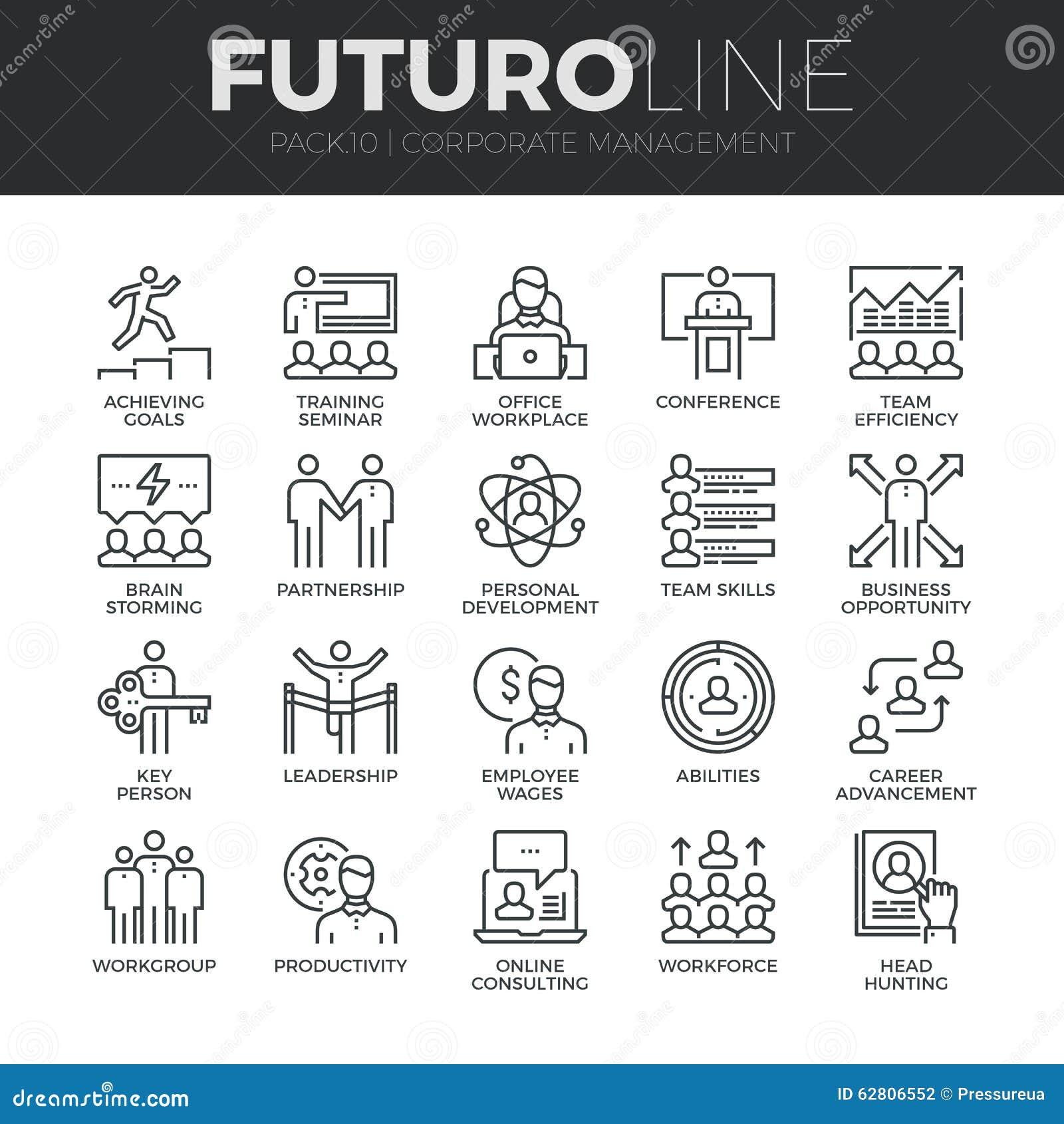 Korporacyjnego zarządzania Futuro linii ikony Ustawiać