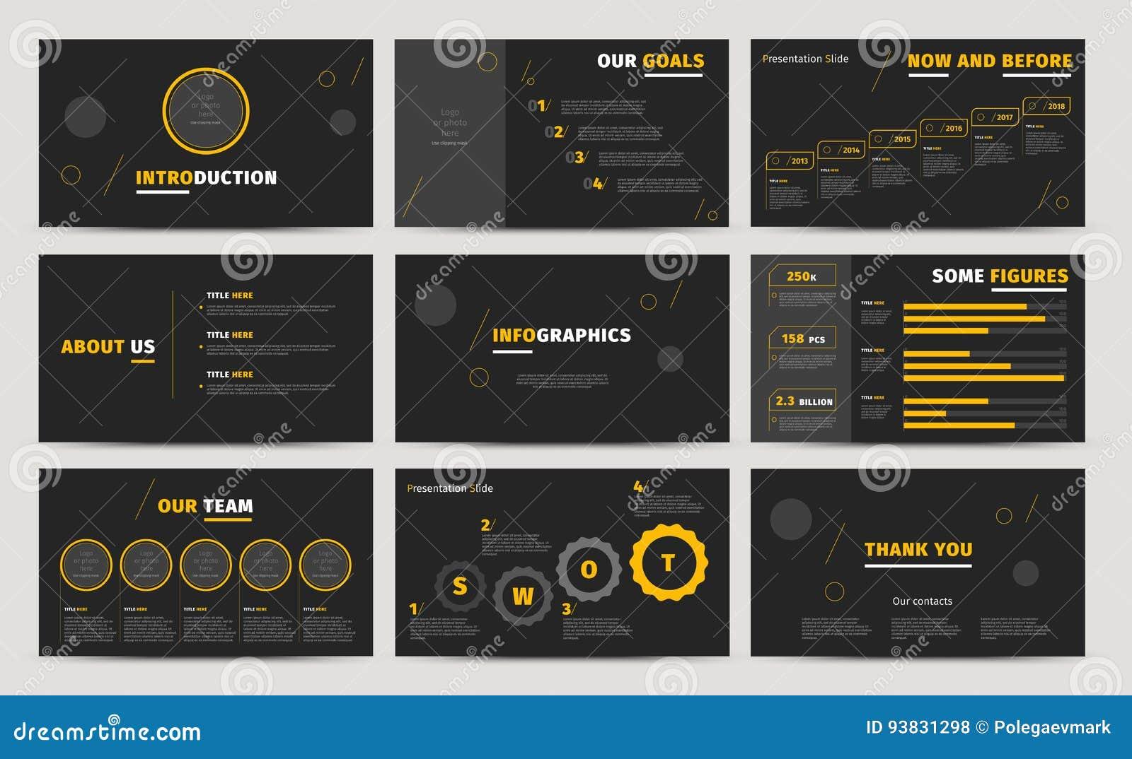 Korporacyjny prezentacj obruszeń projekt Kreatywnie biznesowy sprawozdanie roczne lub propozycja Pełny HD infographics wektorowy