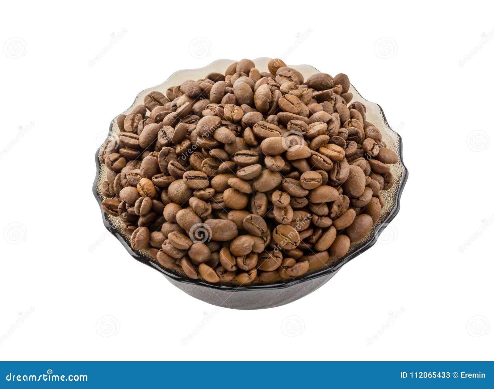 Korrels van koffie in een glaskop