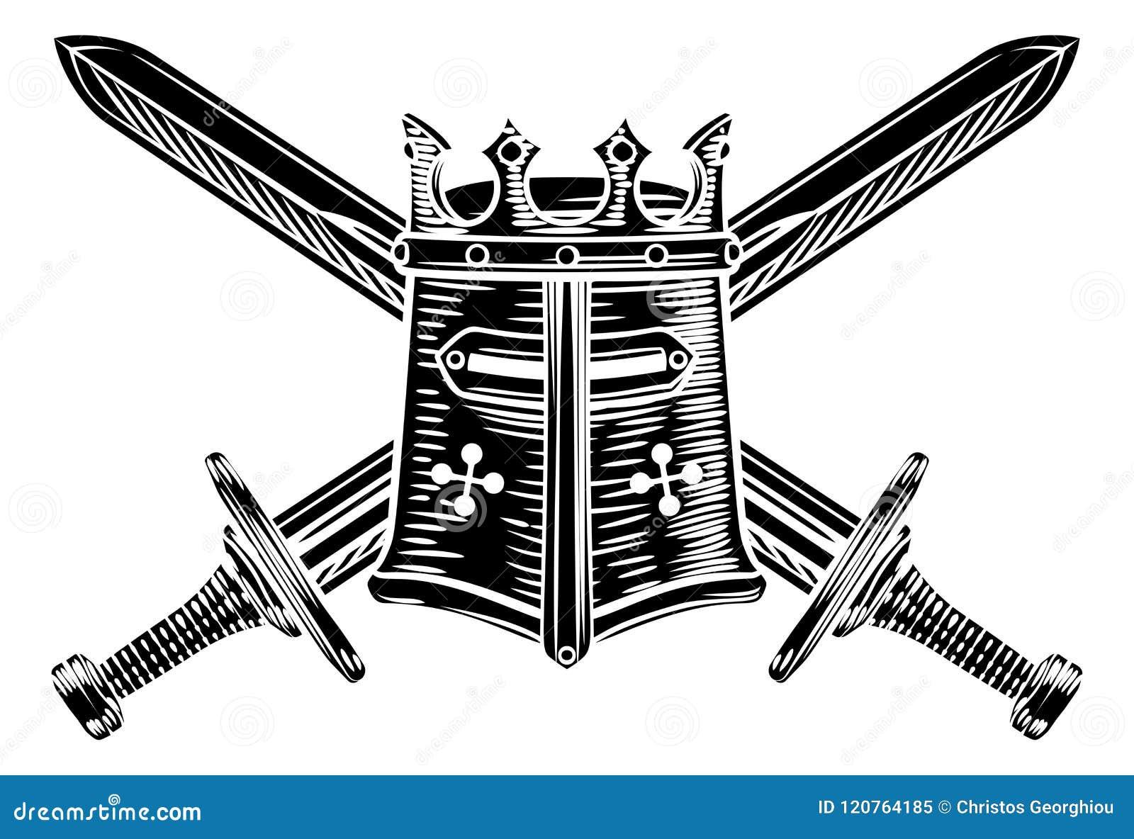 Korsad svärd och riddare Helmet Illustration
