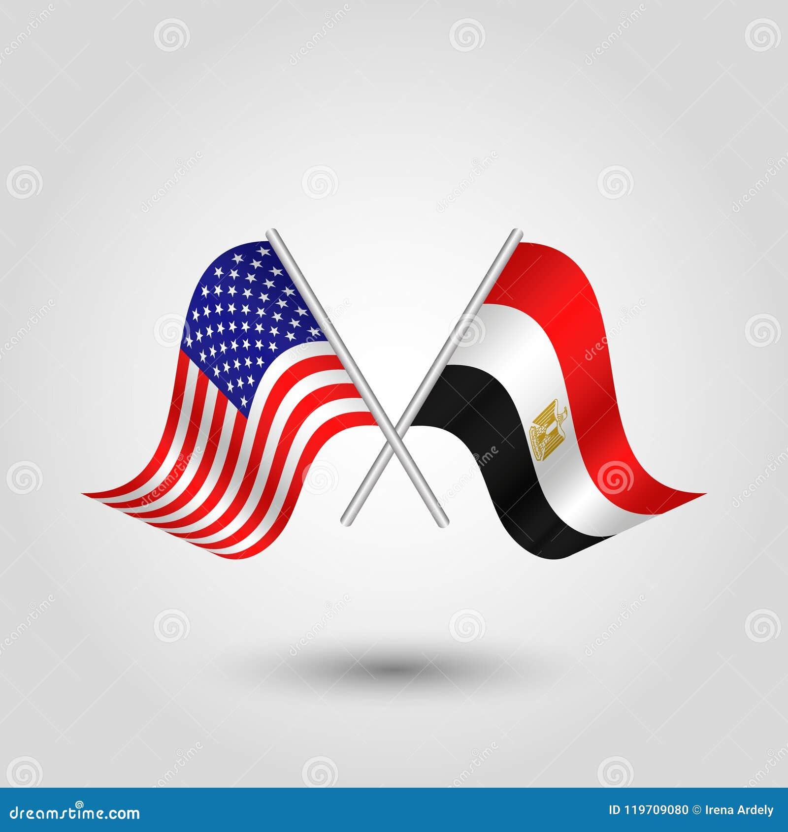 Korsade amerikan- och egyptierflaggor för vektor två