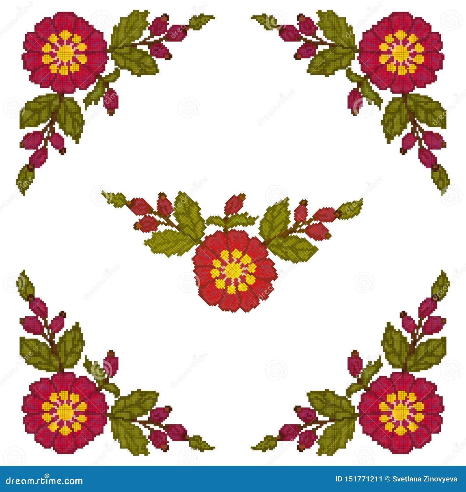 Korsstygnet av hörnbeståndsdelen är röda blommor på en vit bakgrund vektor