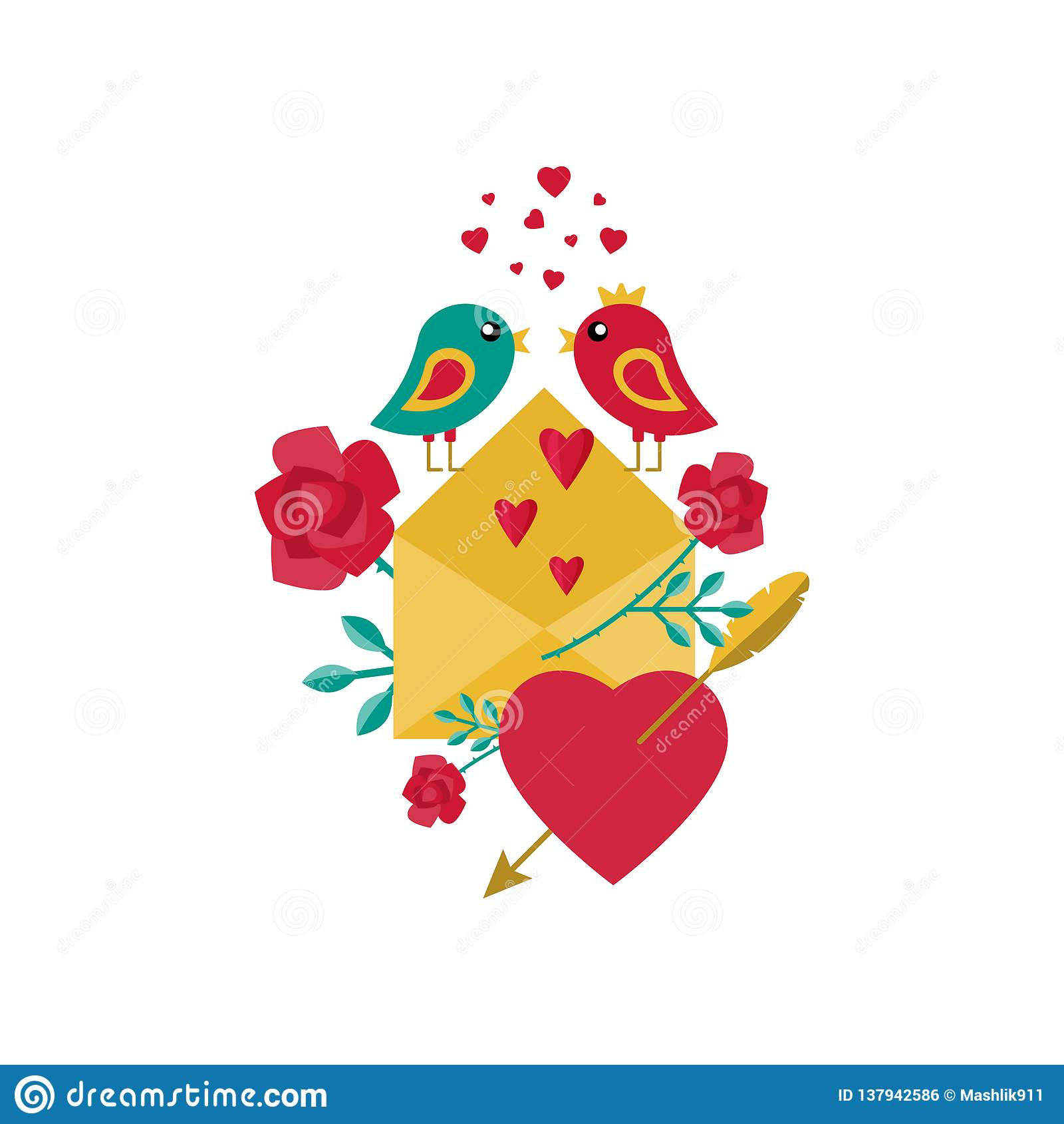 Kort för dag för valentin` s Fåglar, blommor, förälskelsebokstav och hjärtor också vektor för coreldrawillustration