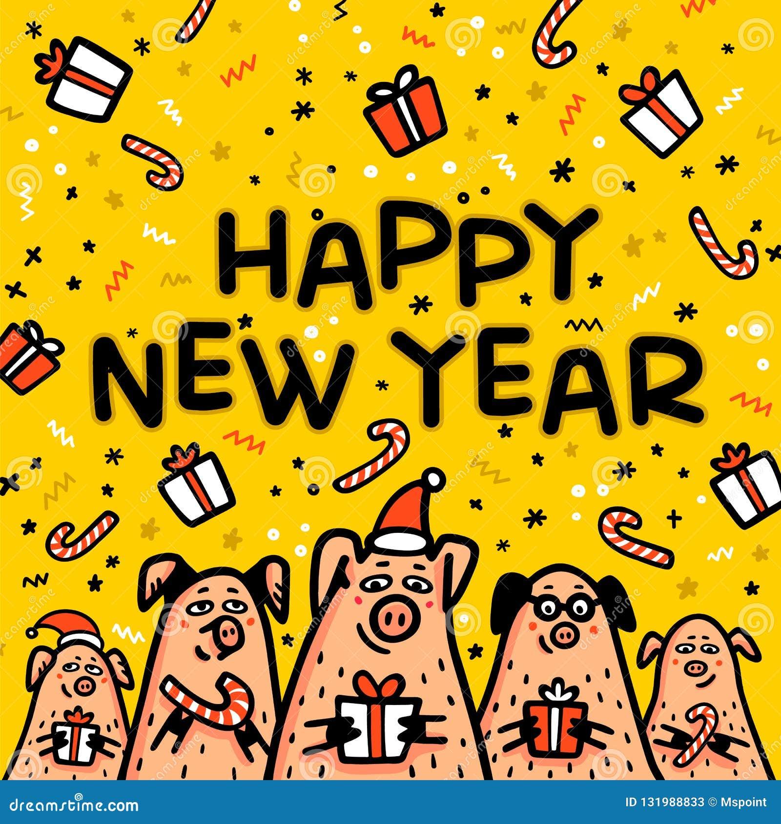 Kort för hälsning för svin för lyckligt nytt år gult Roliga svin med godisrottingar, gåvor och santa hattar 2019 kinesiska symbol