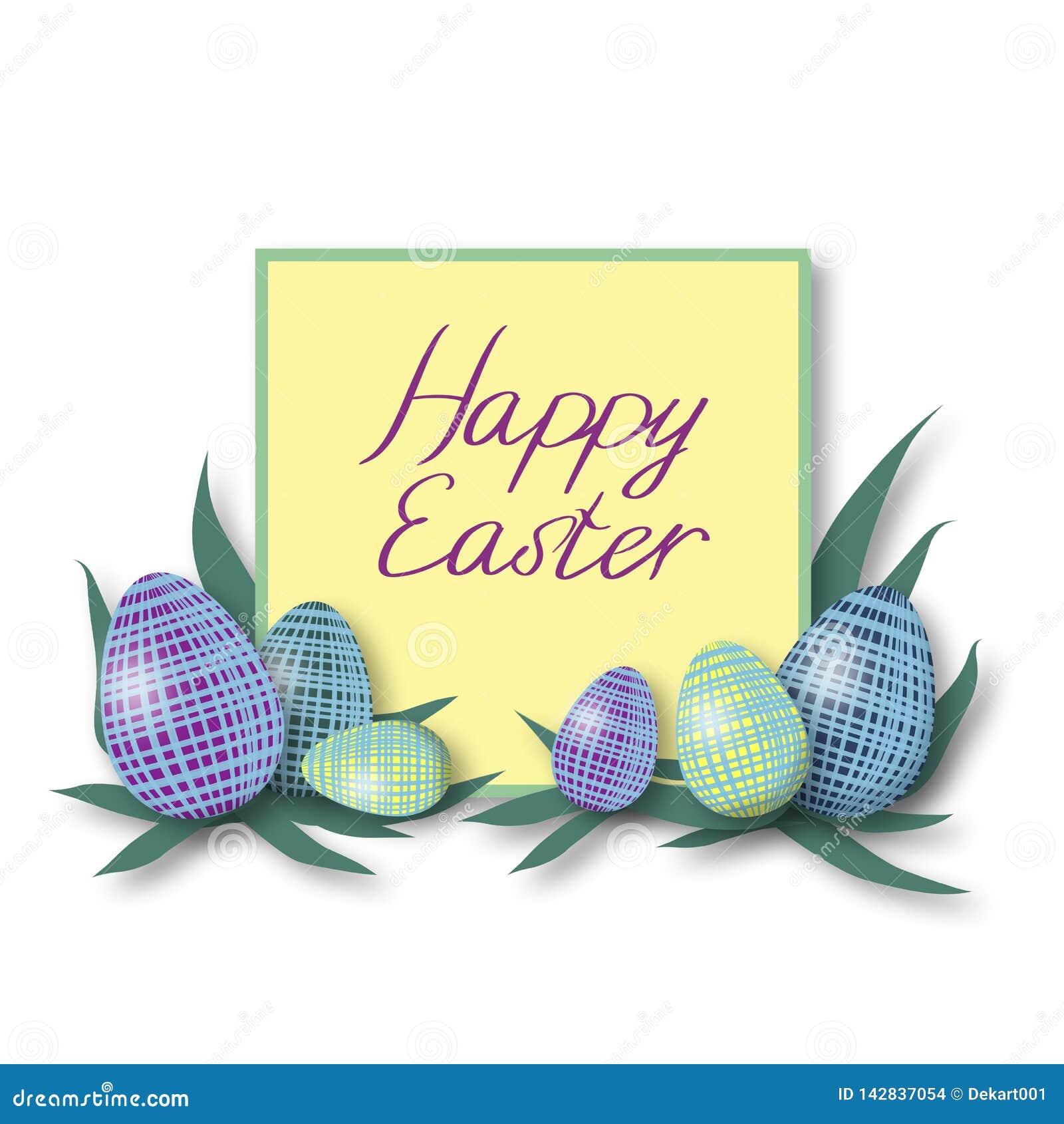 Kort för HappyHappy påskhälsning med färgrika ägg och grön ram med purpurfärgad text för färg