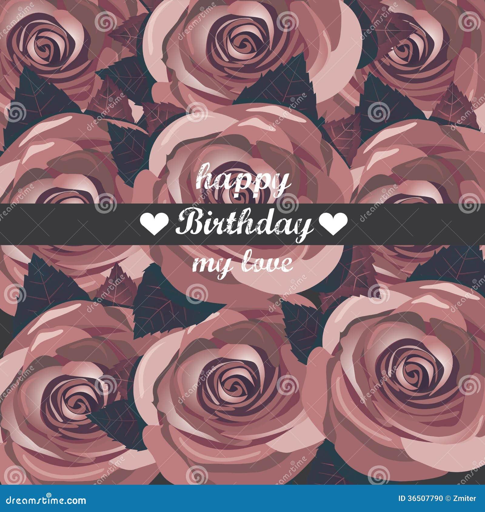 Kort för lycklig födelsedag för vektor med röda blommor.