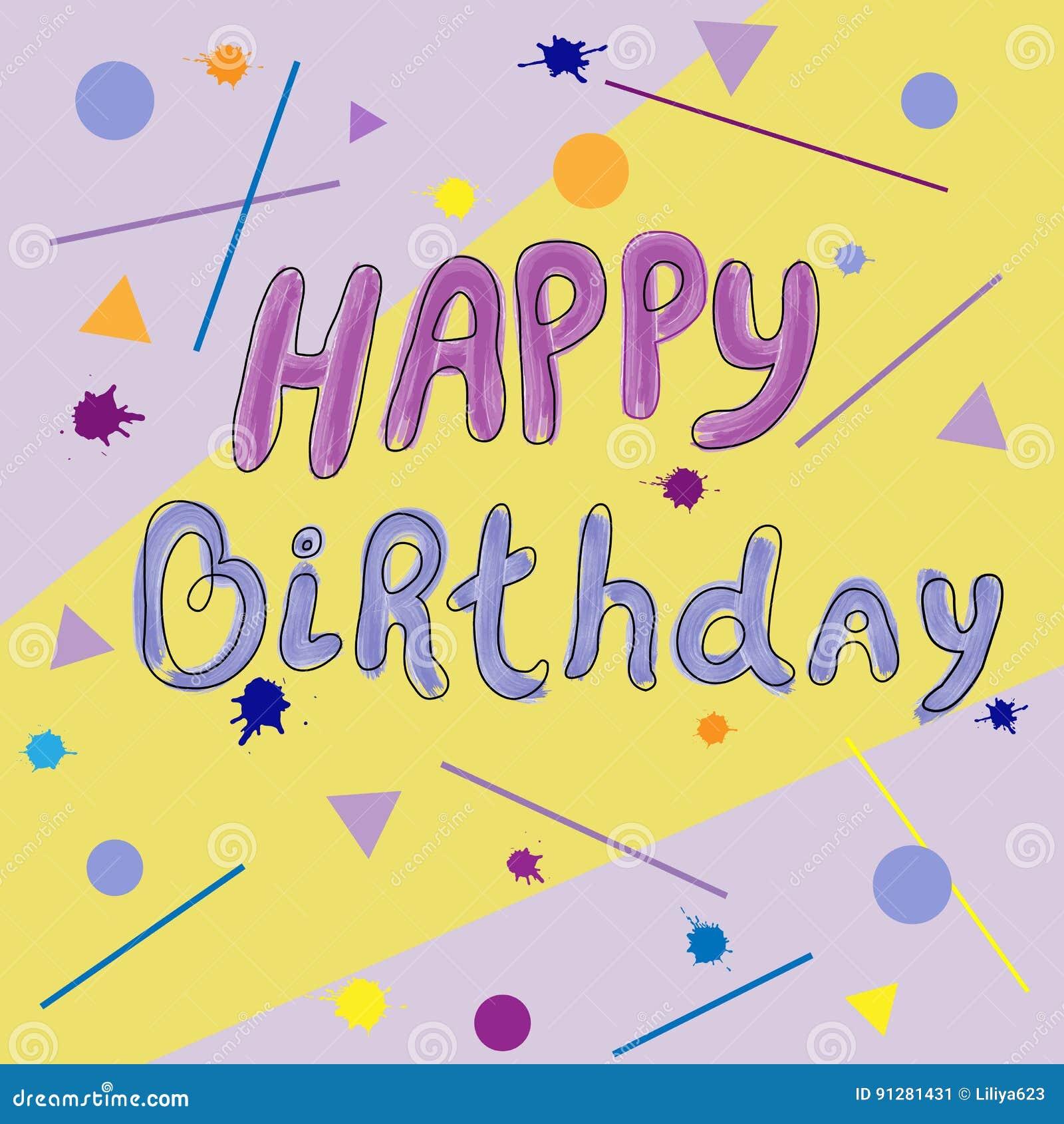 Kort för lycklig födelsedag med färgrik fläckbakgrund