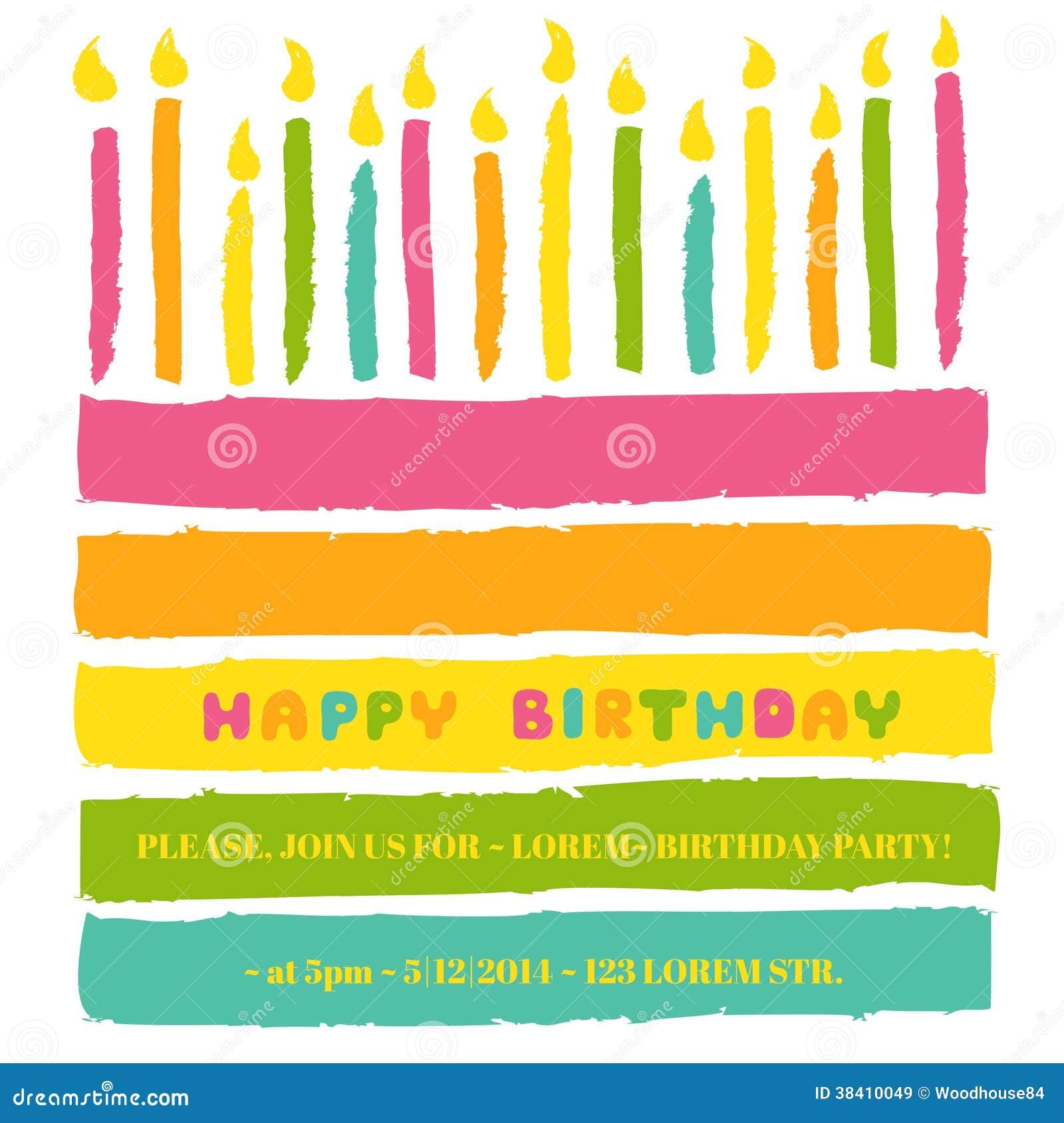Kort för lycklig födelsedag och partiinbjudan