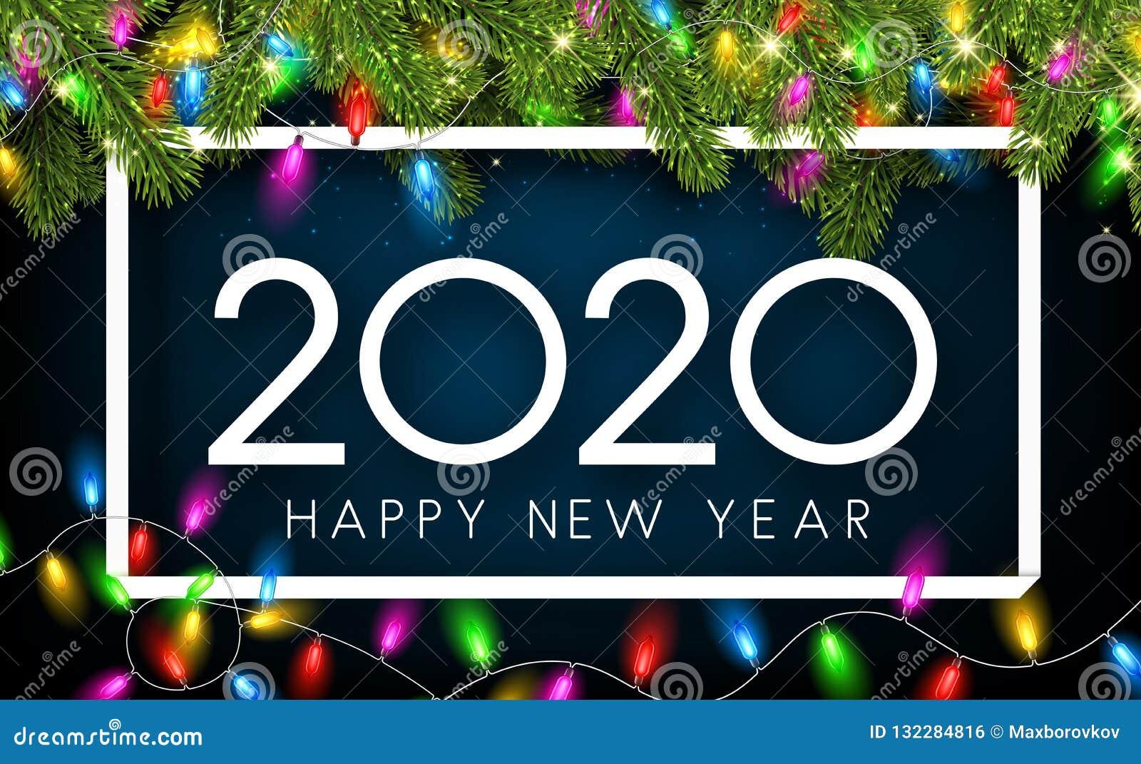 Kort 2020 för lyckligt nytt år med granfilialer och dekorativ lanter