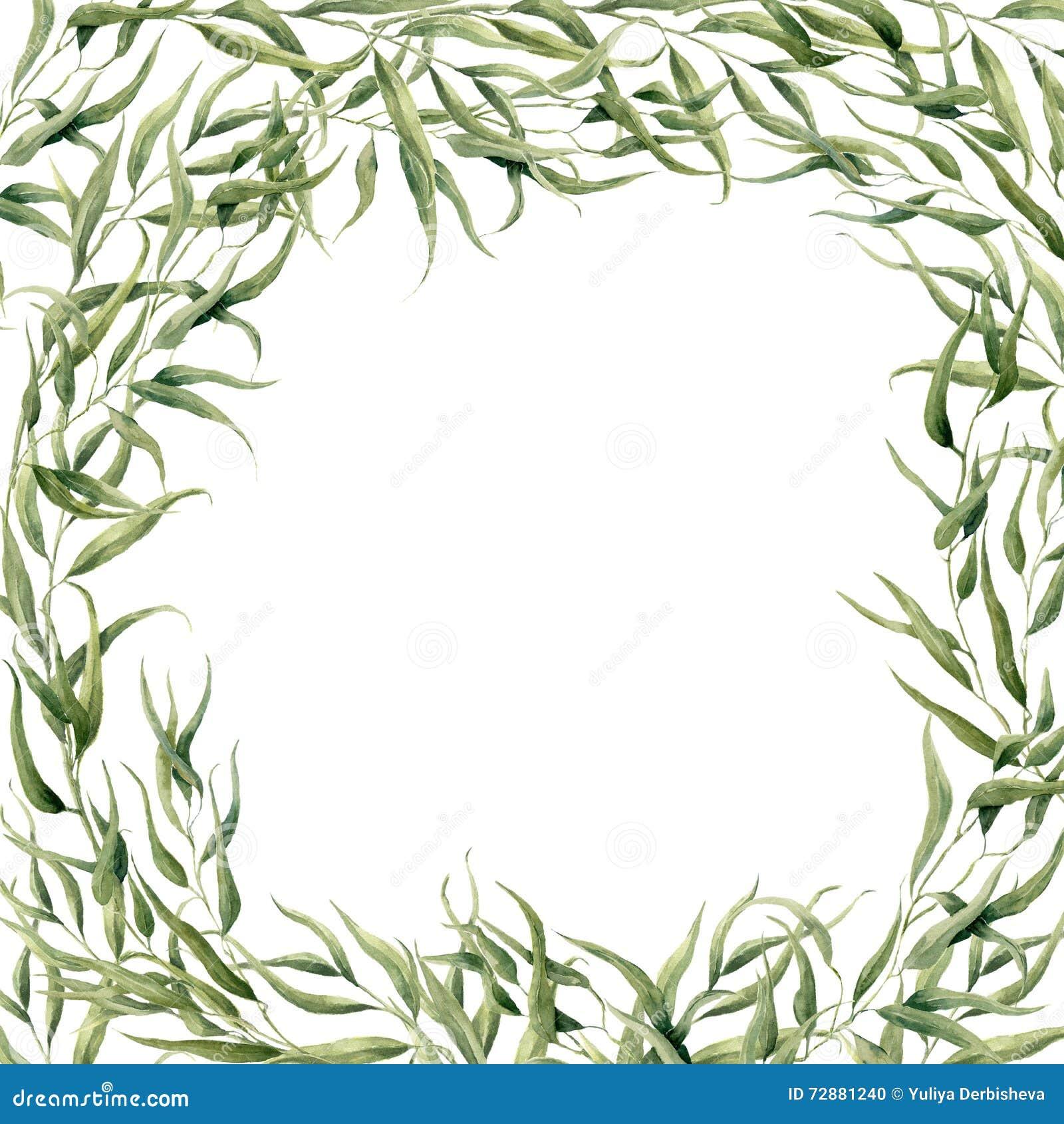 Kort för vattenfärgeukalyptusram Hand målad blom- gräns
