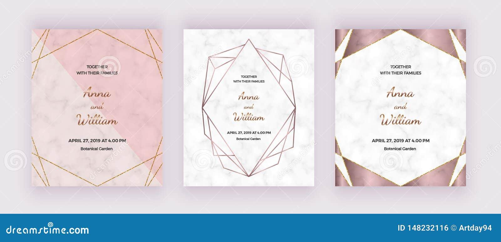 Kort f?r geometrisk design med marmortextur, steg guld- polygonal linjer ramar Moderiktiga mallar f?r banret, reklambladet, affis