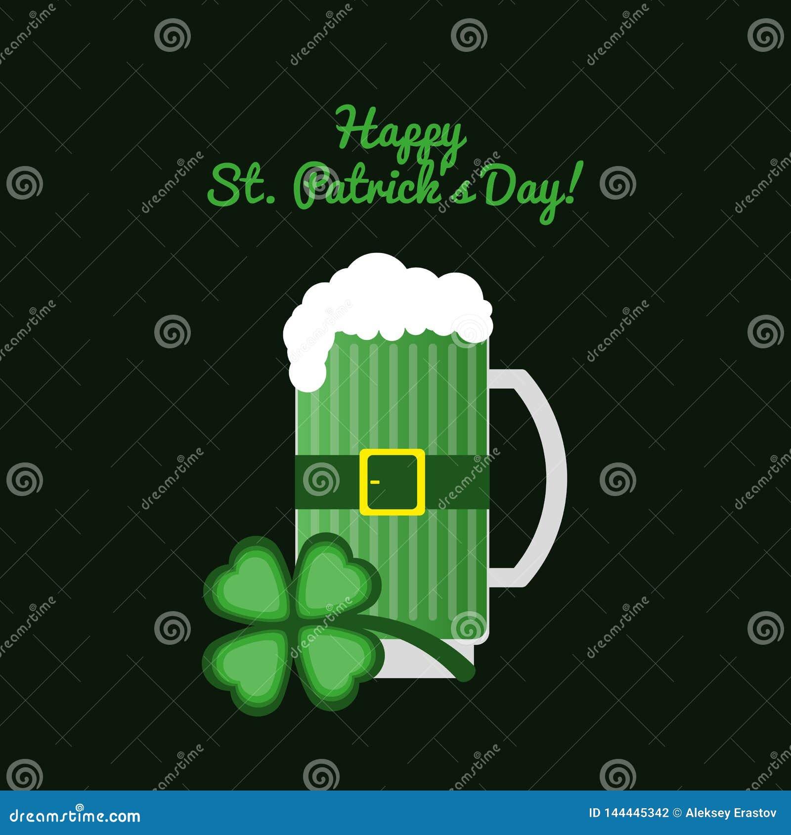 Kort med lyckliga Stets Patrick för text dag! Råna öl med växt av släktet Trifolium på en mörk bakgrund