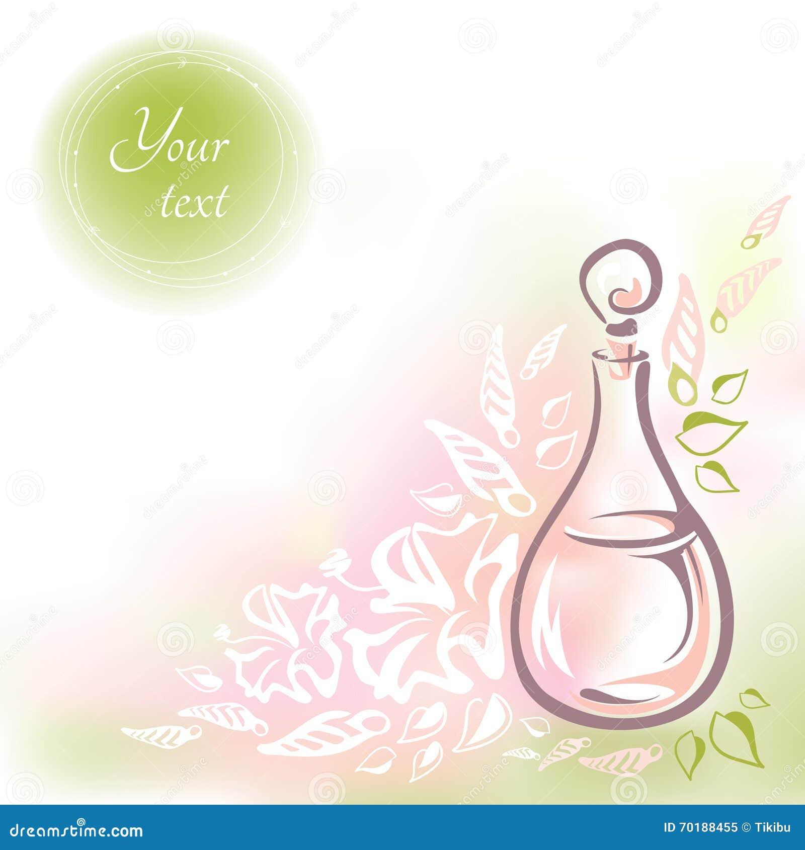 Kort med rosa glasflaskablommaolja