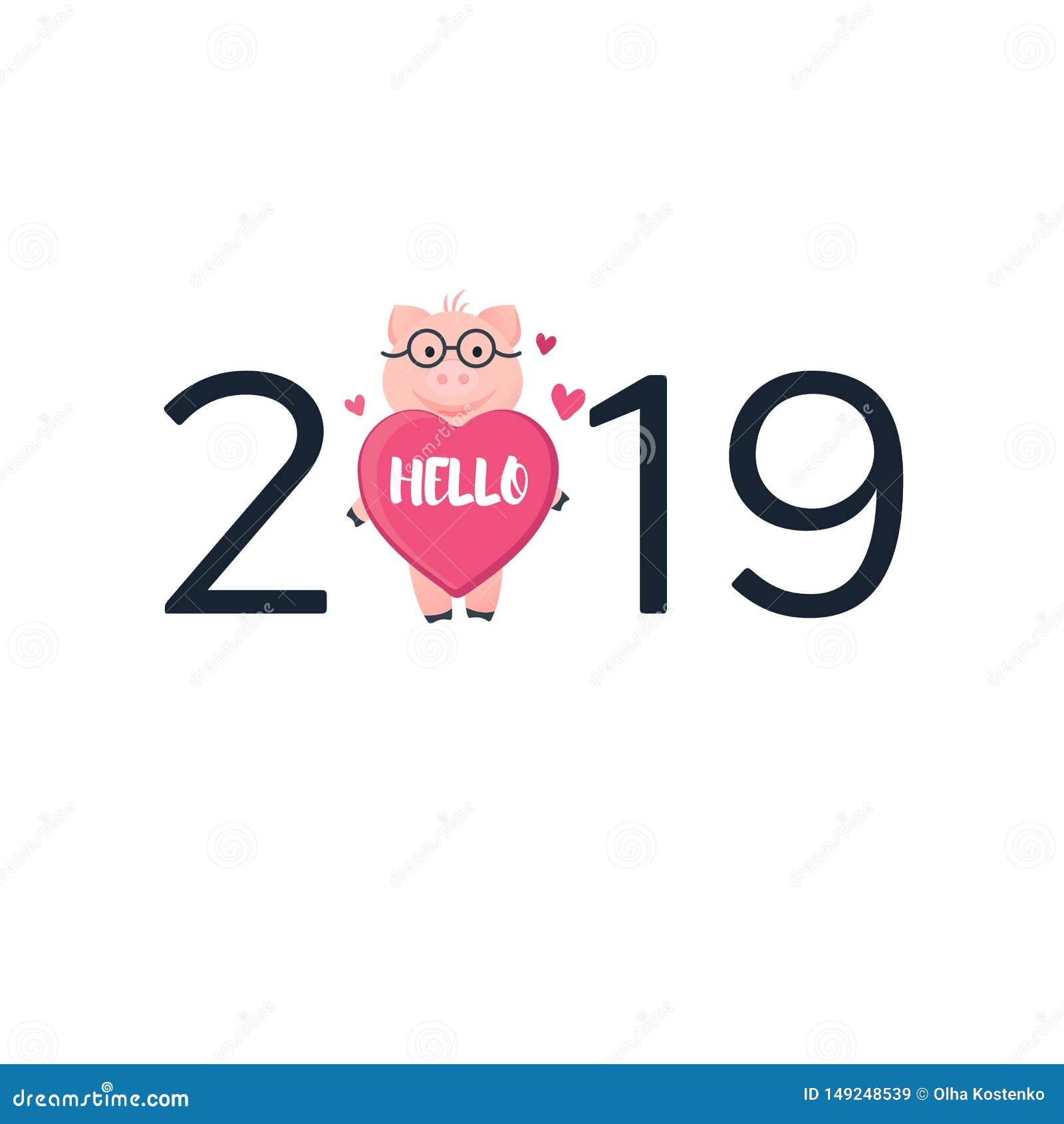 Kort 2019 med svinet Rosa spädgris för tecknad film med hjärta