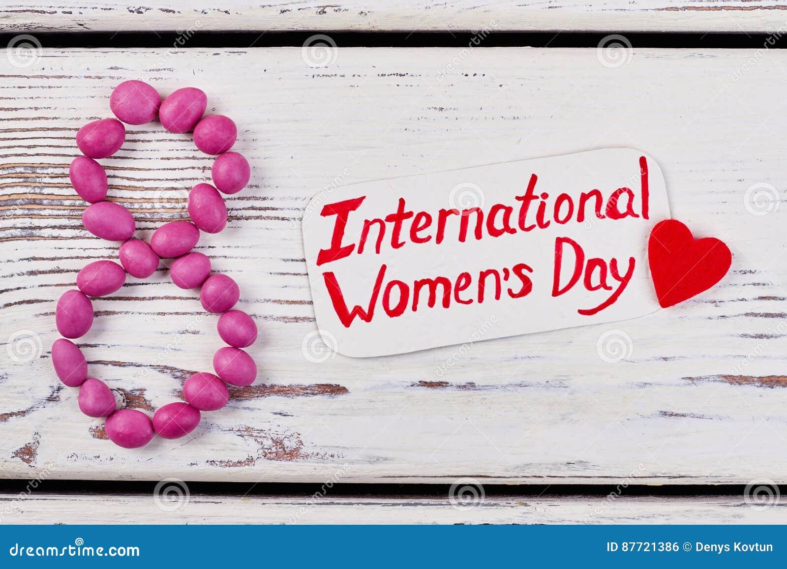 Kort och hjärta för dag för kvinna` s