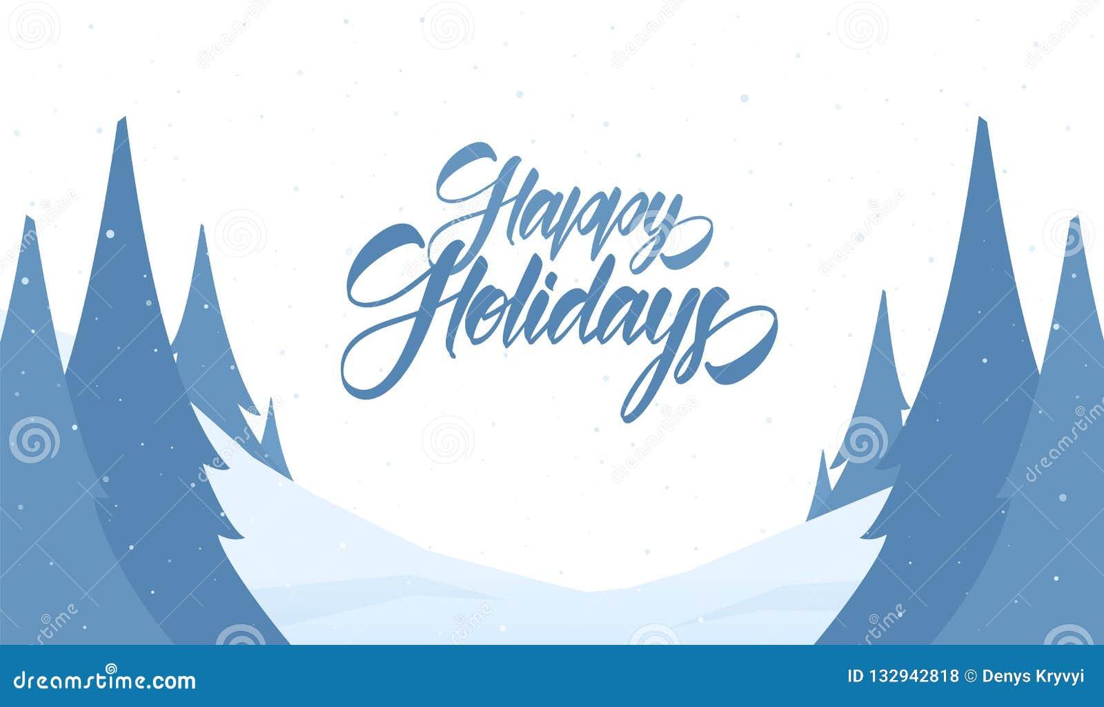 Kortdaghälsningen irises vektorn för moder s Snöig julbakgrund med handbokstäver av lyckligt semestrar och sörjer