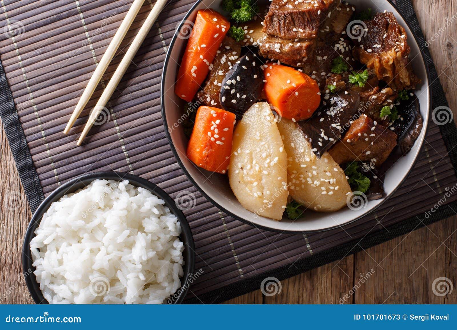 Korte Ribben van het Galbi jjim de Koreaanse Gesmoorde Rundvlees met rijstclose-up Ho