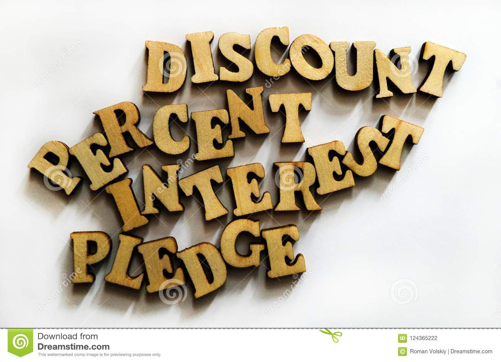 Korting, rente, percenten en belofte Woorden van houten brieven