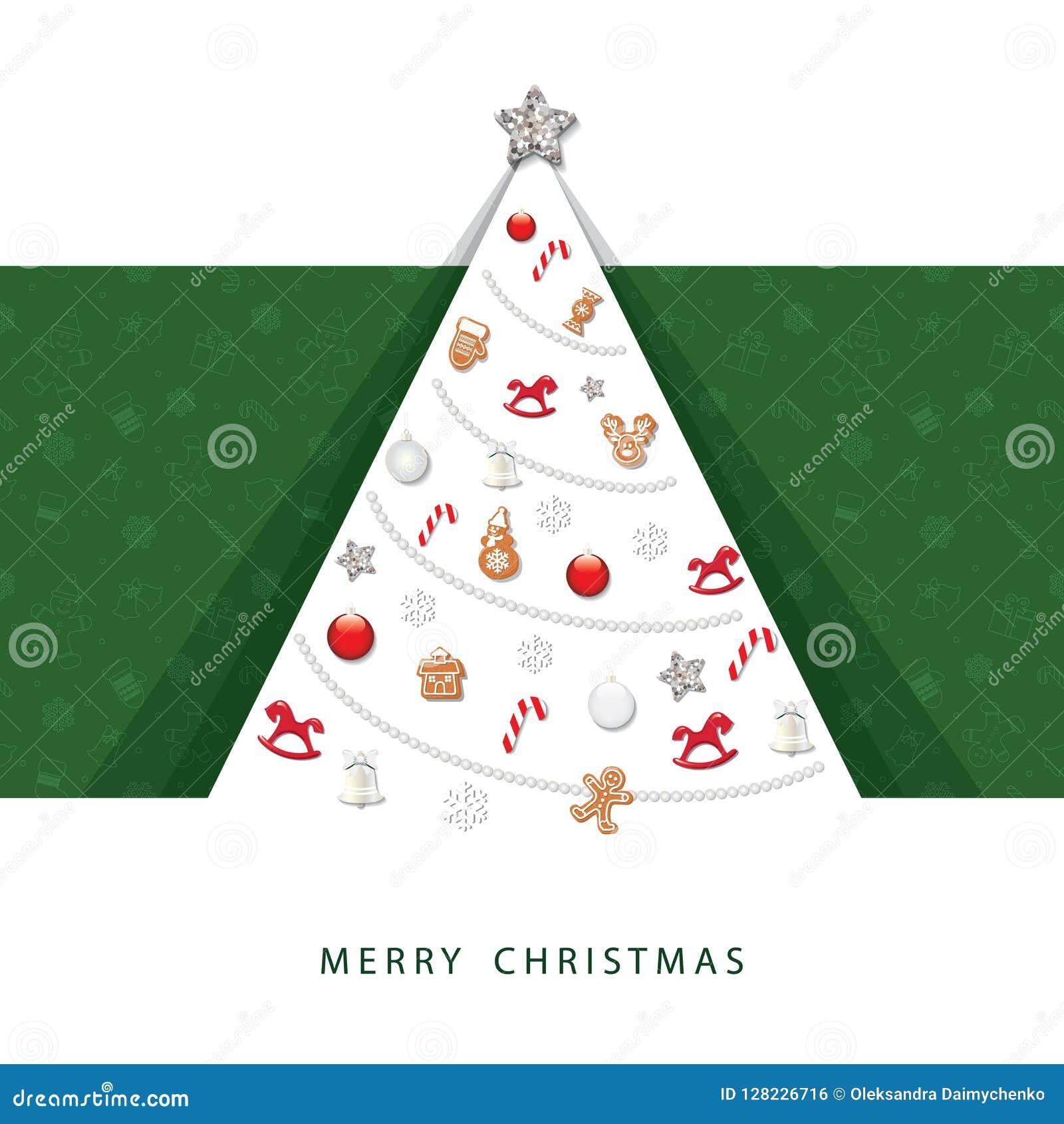 Kortjul som greeting lyckligt glatt nytt år 3D skyler över brister trädet för snittet ut med dekorativa beståndsdelar