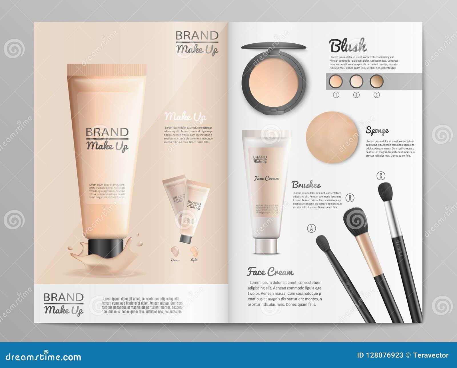 Kosmetik-Produkt-Katalog oder Broschüren-Schablone