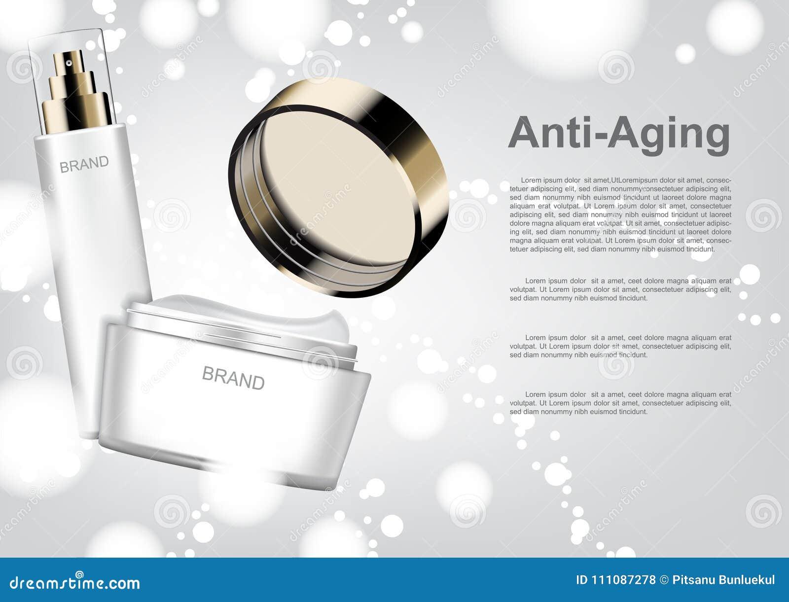 Kosmetische Anzeigenschablone, geöffnete Antialterncreme mit Blasenlicht